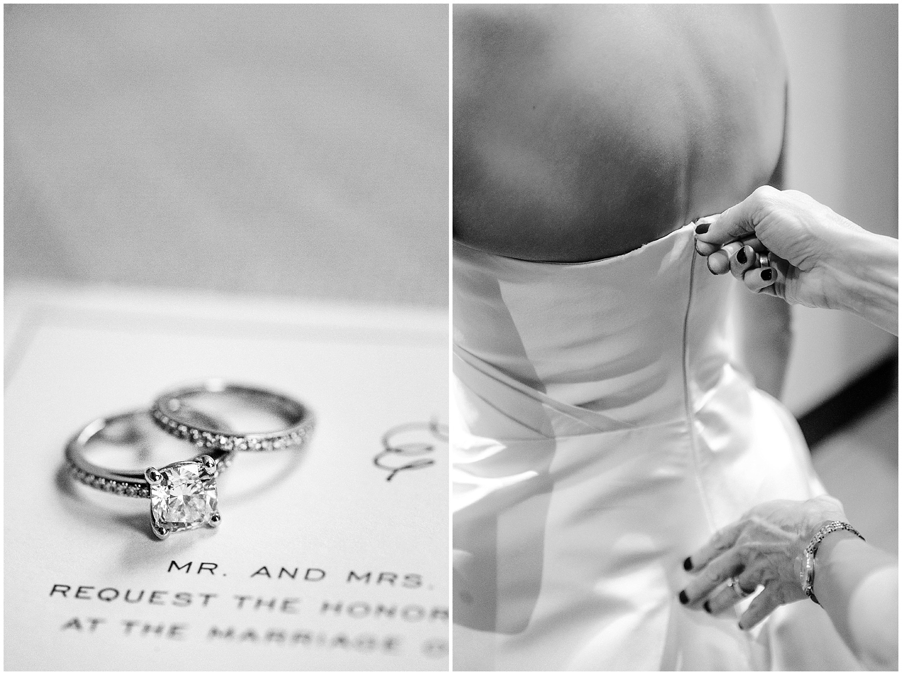 The bride's dress is zipped before a St. Clement Germania Place Chicago wedding.