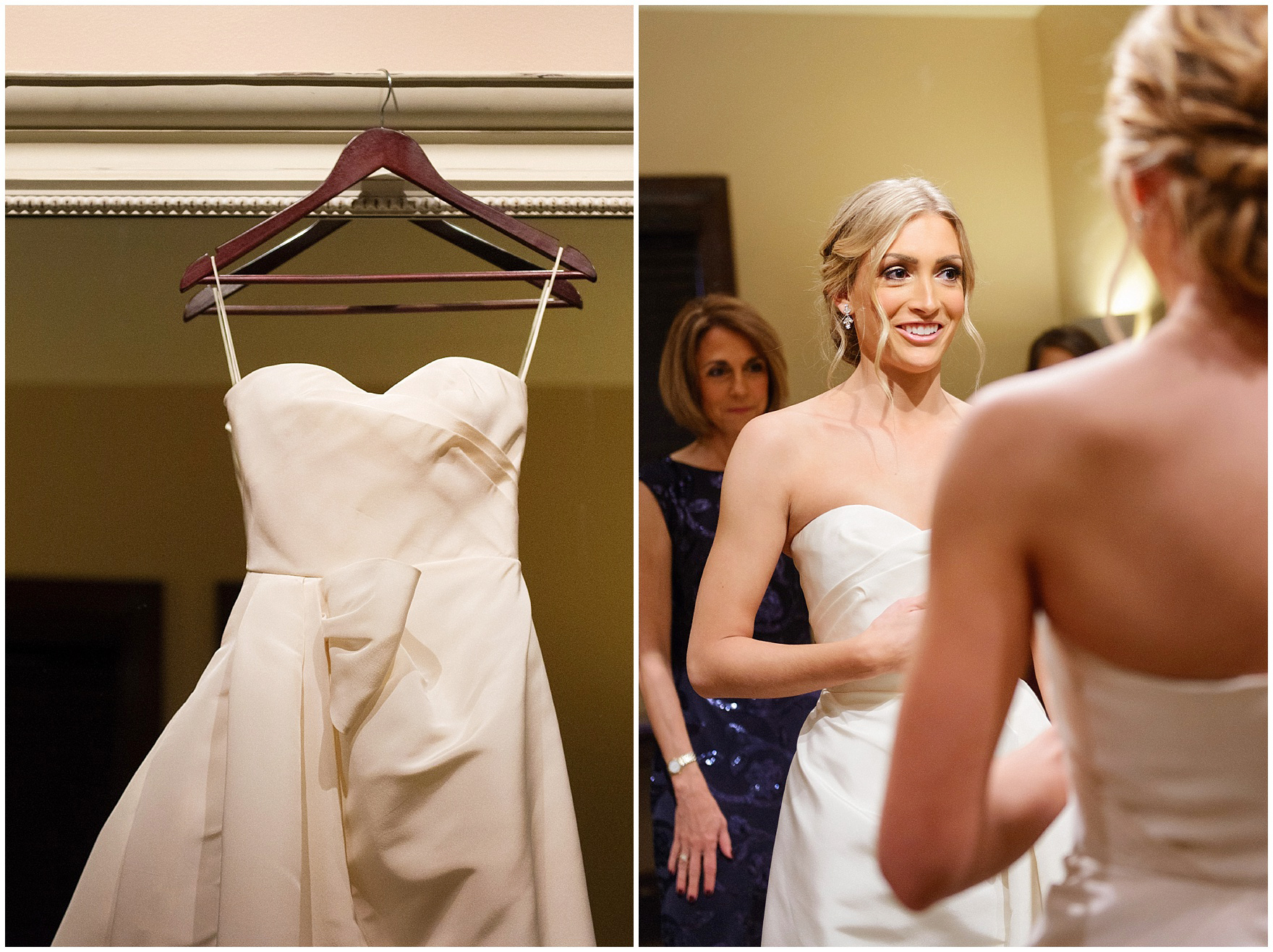 A bride is dressed in her Oscar de la Renta gown before a St. Clement Germania Place Chicago wedding.