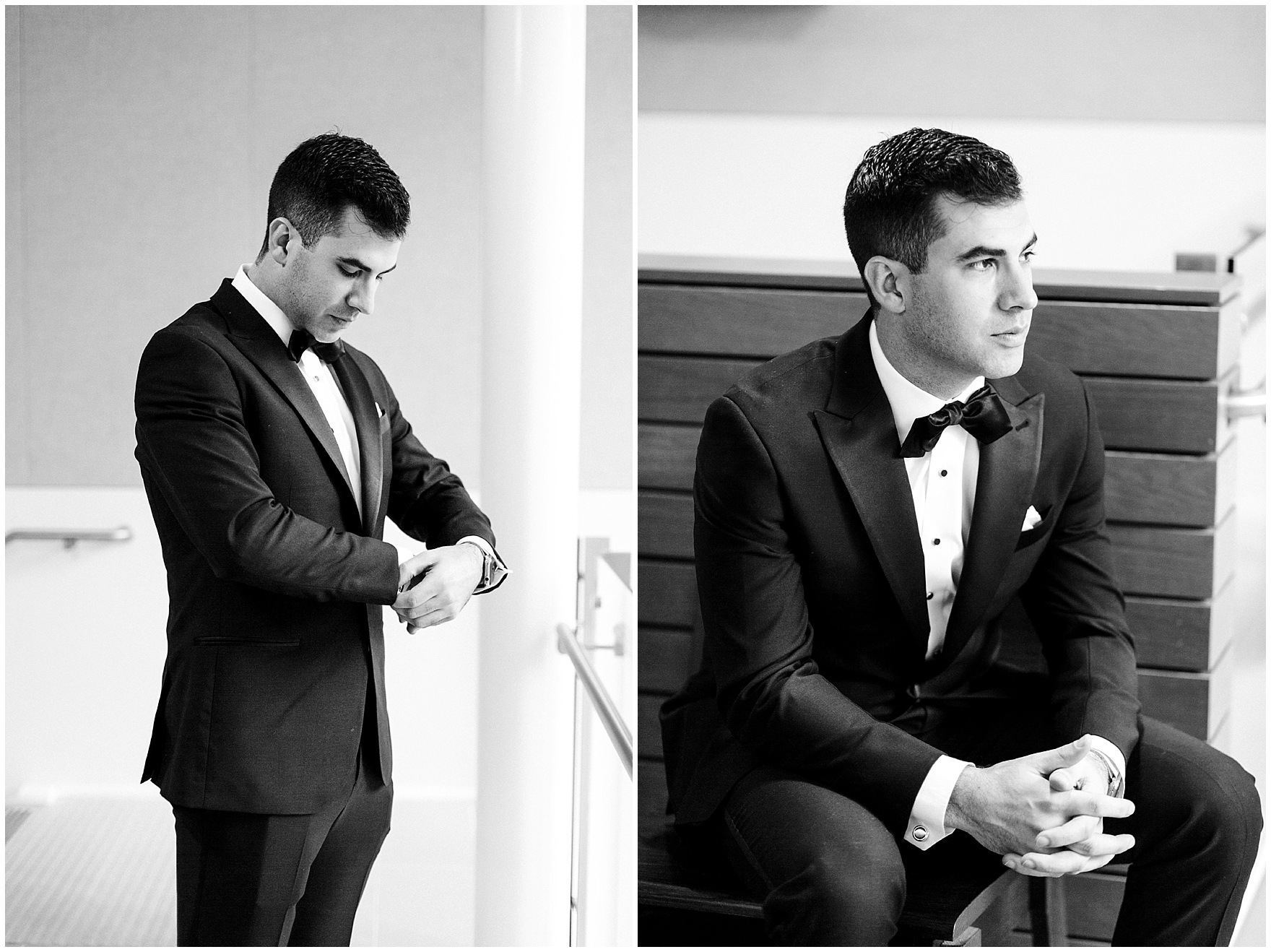 A groom takes a moment to reflect before a St. Clement Germania Place Chicago wedding.