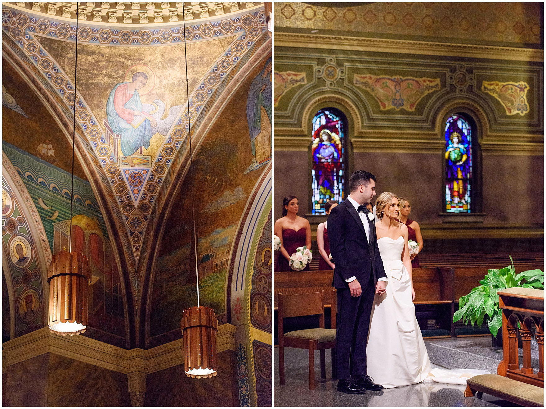 The bride and groom hold hands during a St. Clement Germania Place Chicago wedding.