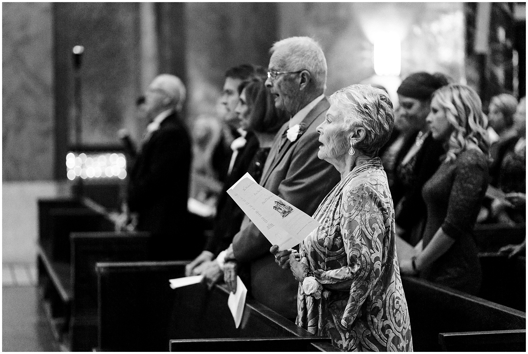 The congregation sings during a St. Clement Germania Place Chicago wedding.