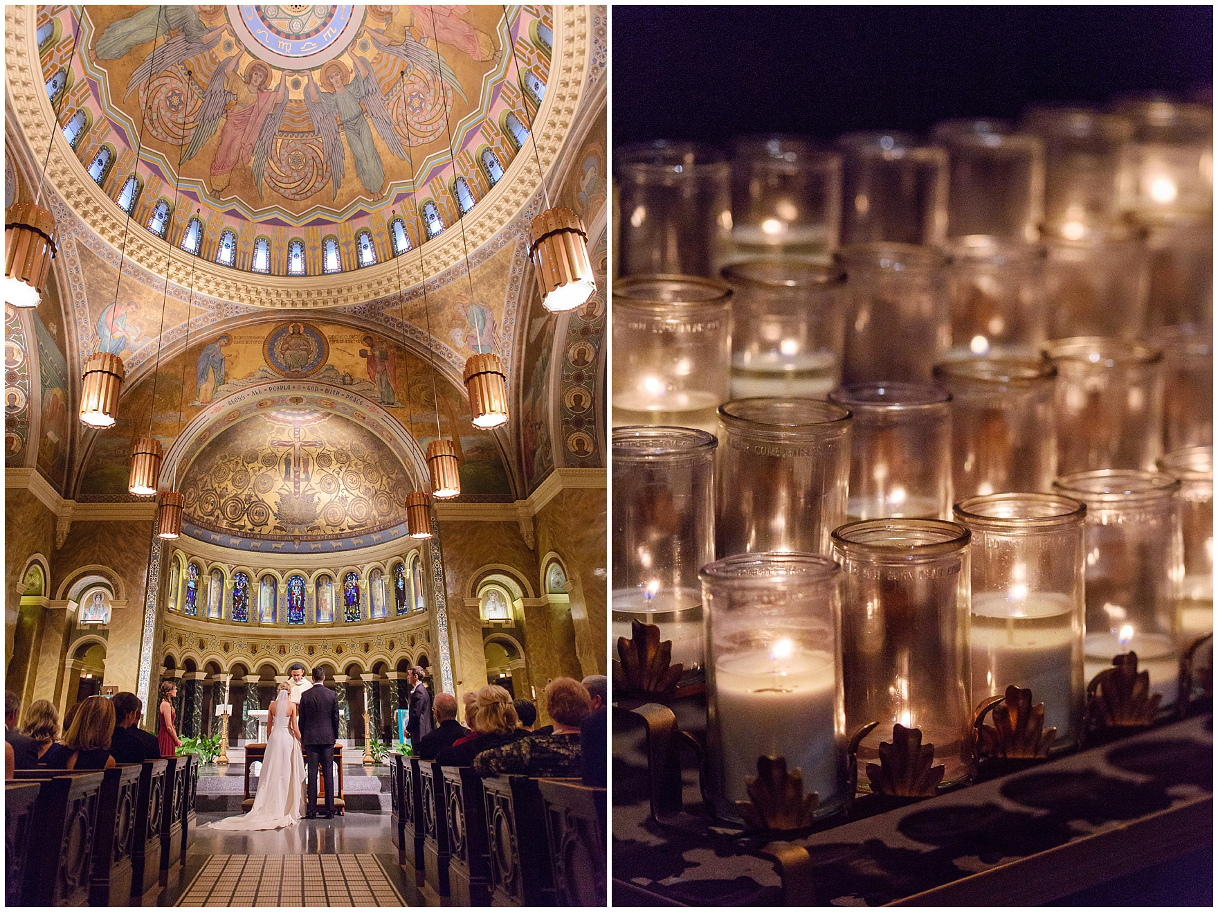 Gold fixtures and candlelight during a St. Clement Germania Place Chicago wedding.