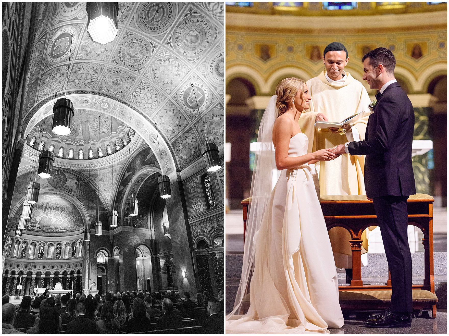 The bride places a ring on the groom's hand during a St. Clement Germania Place Chicago wedding.