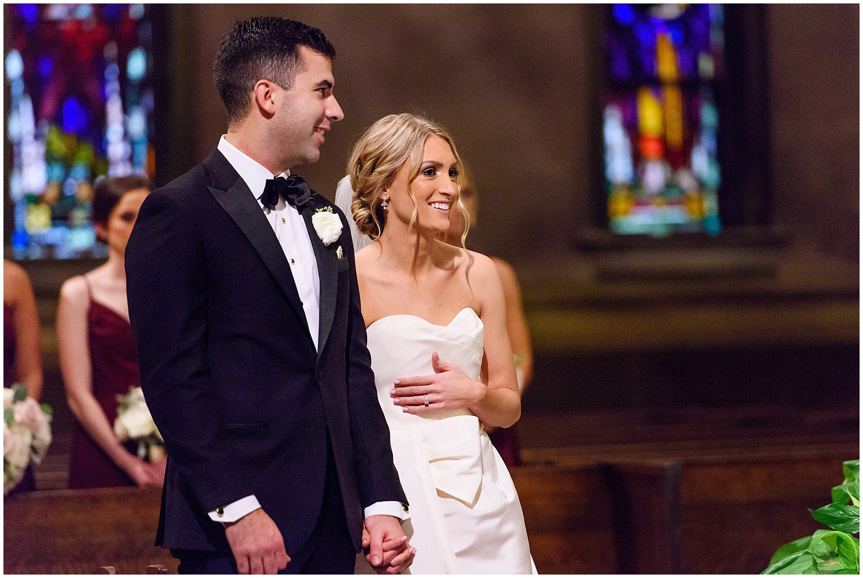 The bride and groom laugh during a St. Clement Germania Place Chicago wedding.