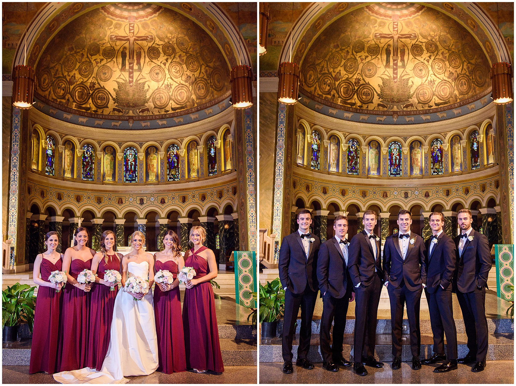 Bridesmaids and groomsmen stand on the church altar during a St. Clement Germania Place Chicago wedding.