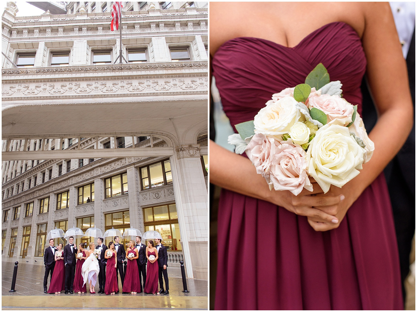 Closeup of a bridesmaids' bouquet during a St. Clement Germania Place Chicago wedding.