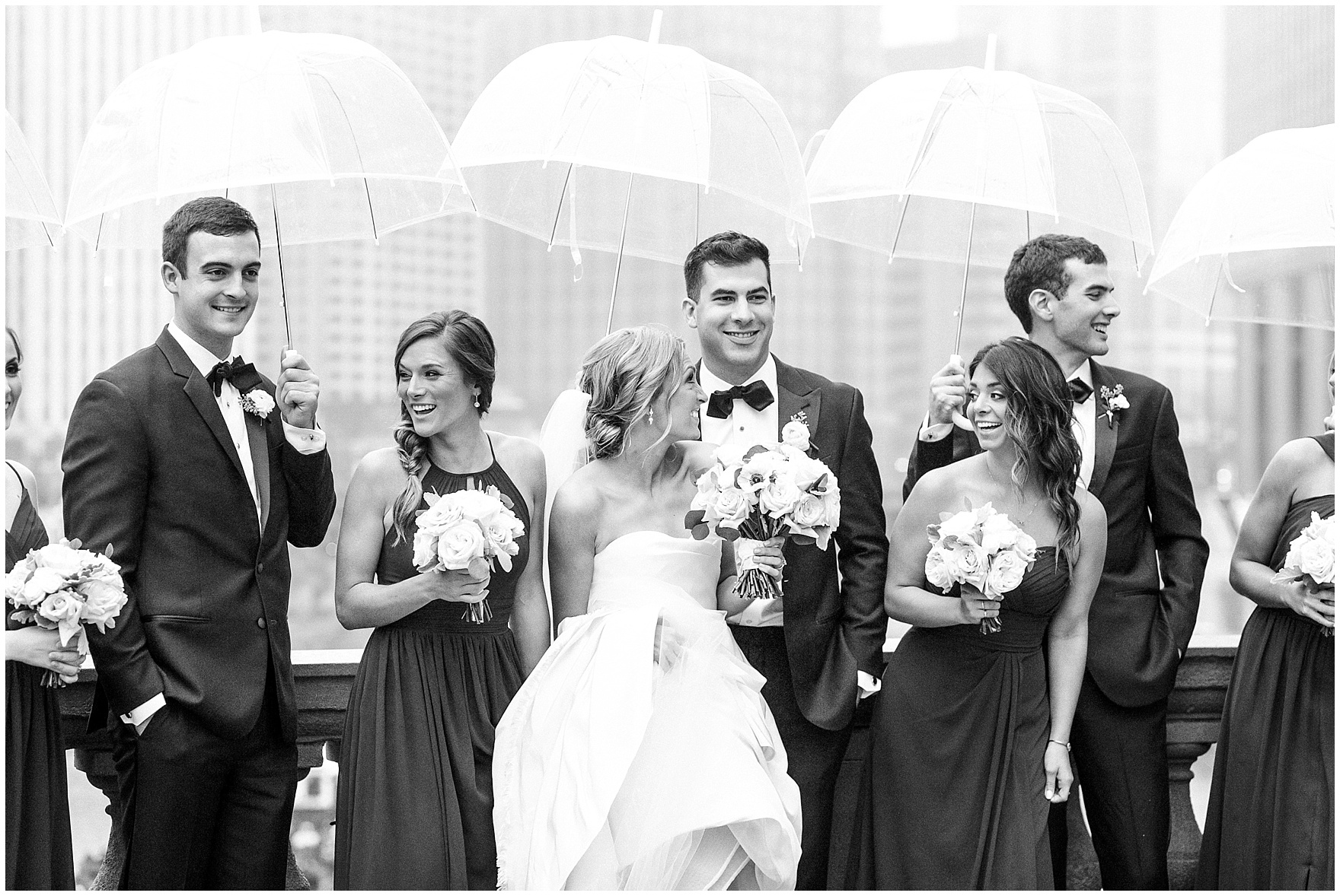 The bridal party laughs as they are photographed during a St. Clement Germania Place Chicago wedding.