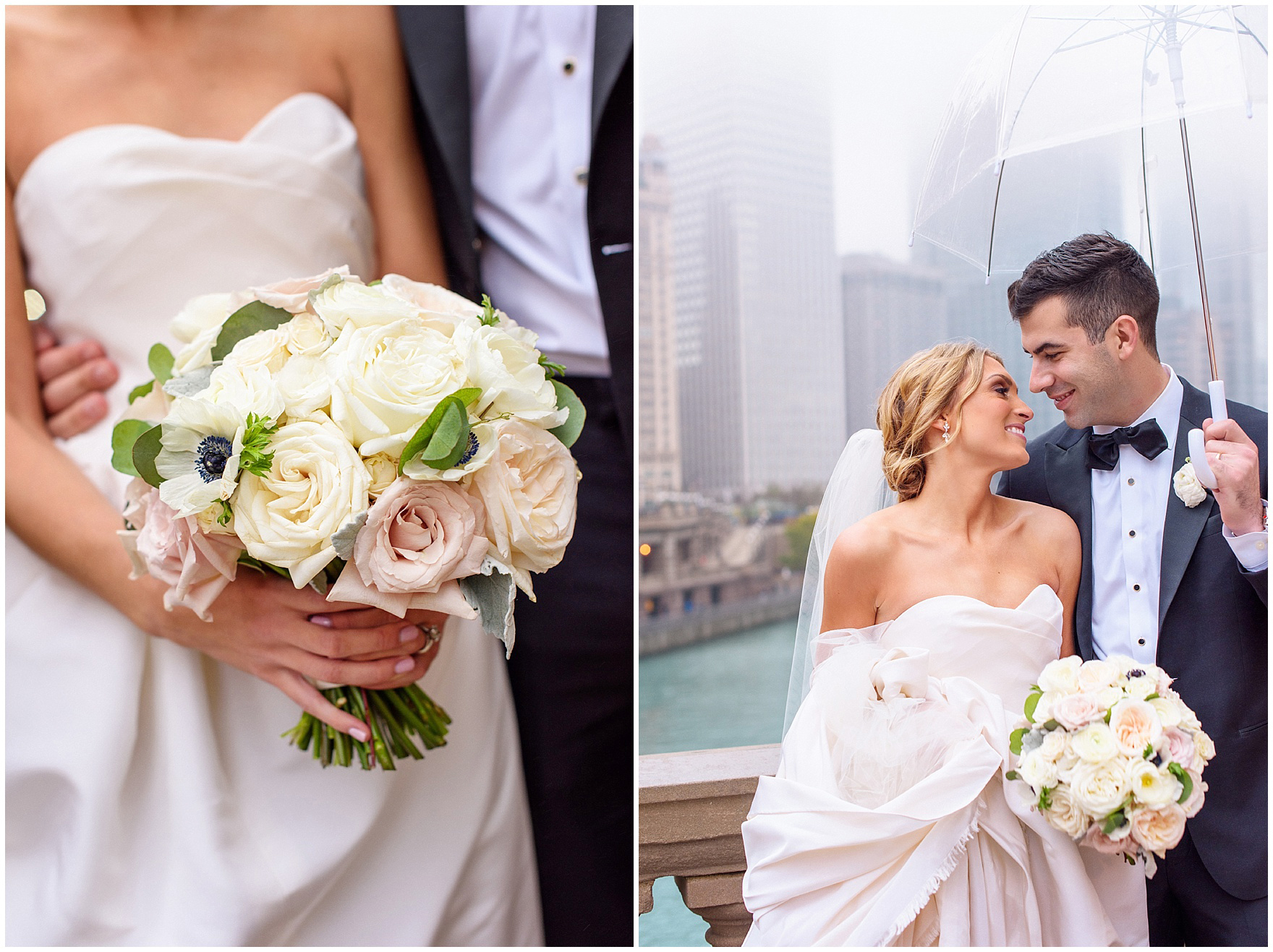 A close up of a bride's bouquet with ivory and blush roses during a St. Clement Germania Place Chicago wedding.