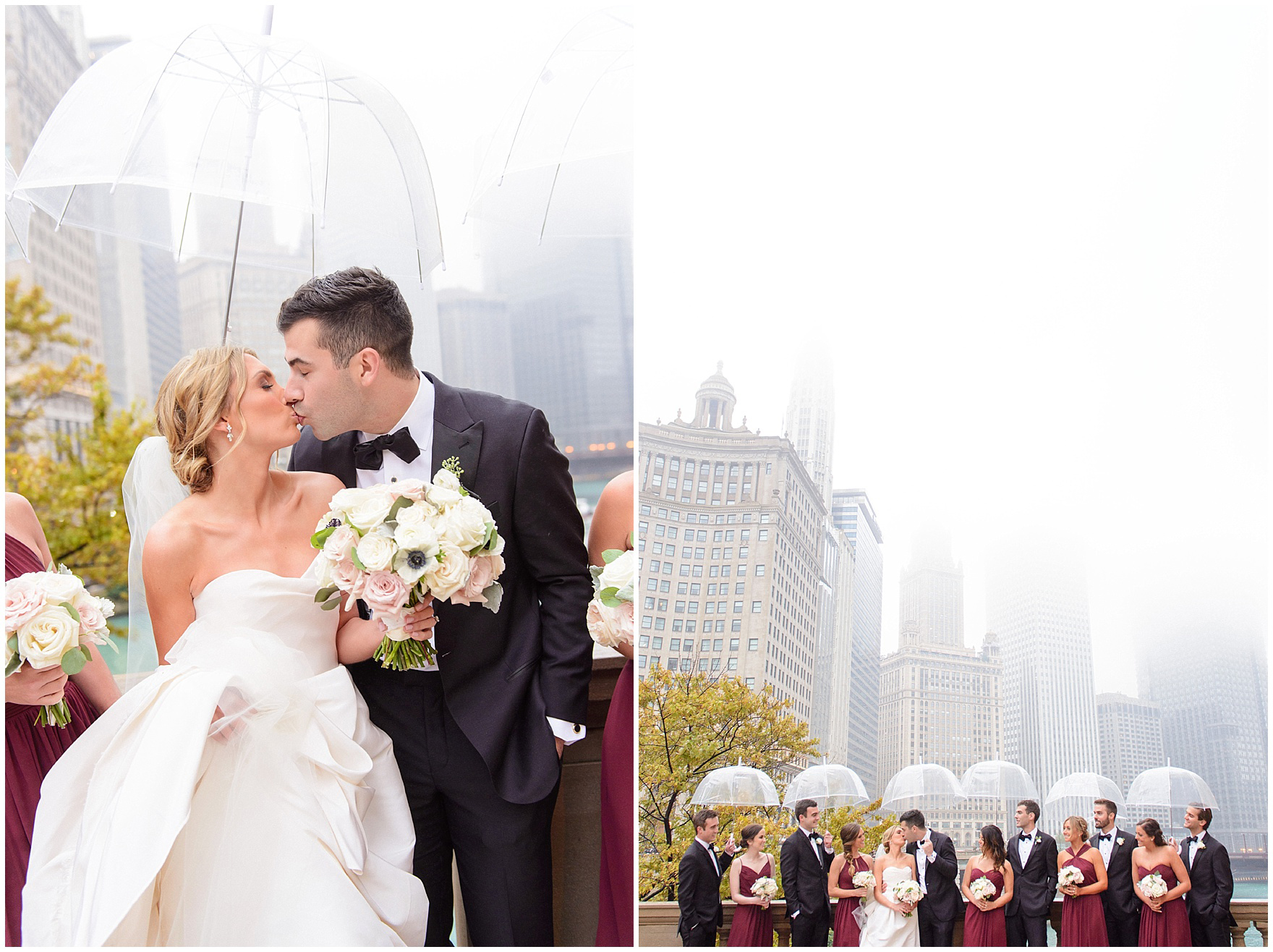 A wedding party poses in front of Chicago's skyline on a misty, rainy day during a St. Clement Germania Place Chicago wedding.
