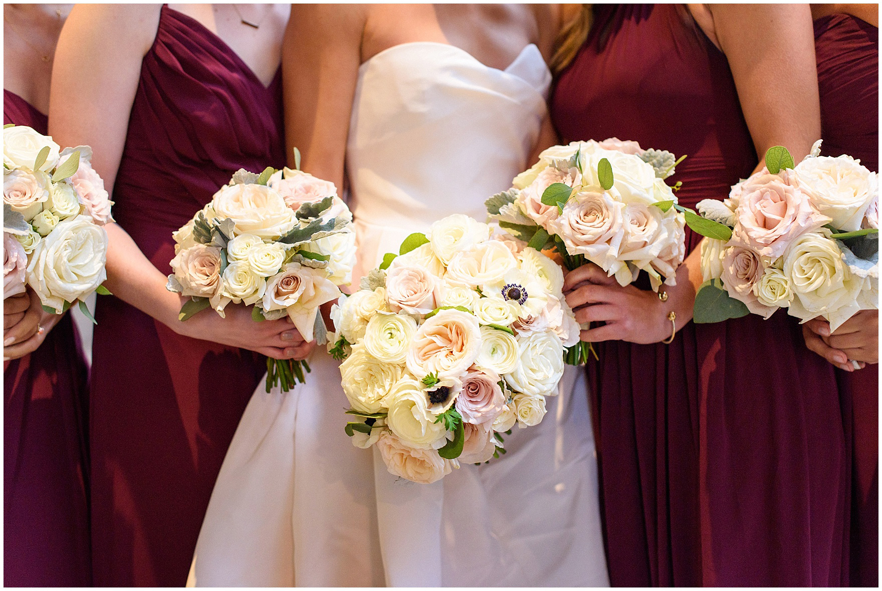 Close up photograph of bouquets during a St. Clement Germania Place Chicago wedding.