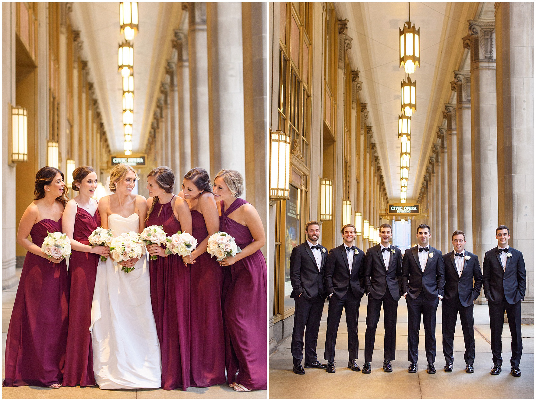 The bridesmaids and groomsmen pose at the Civic Opera House during a St. Clement Germania Place Chicago wedding.