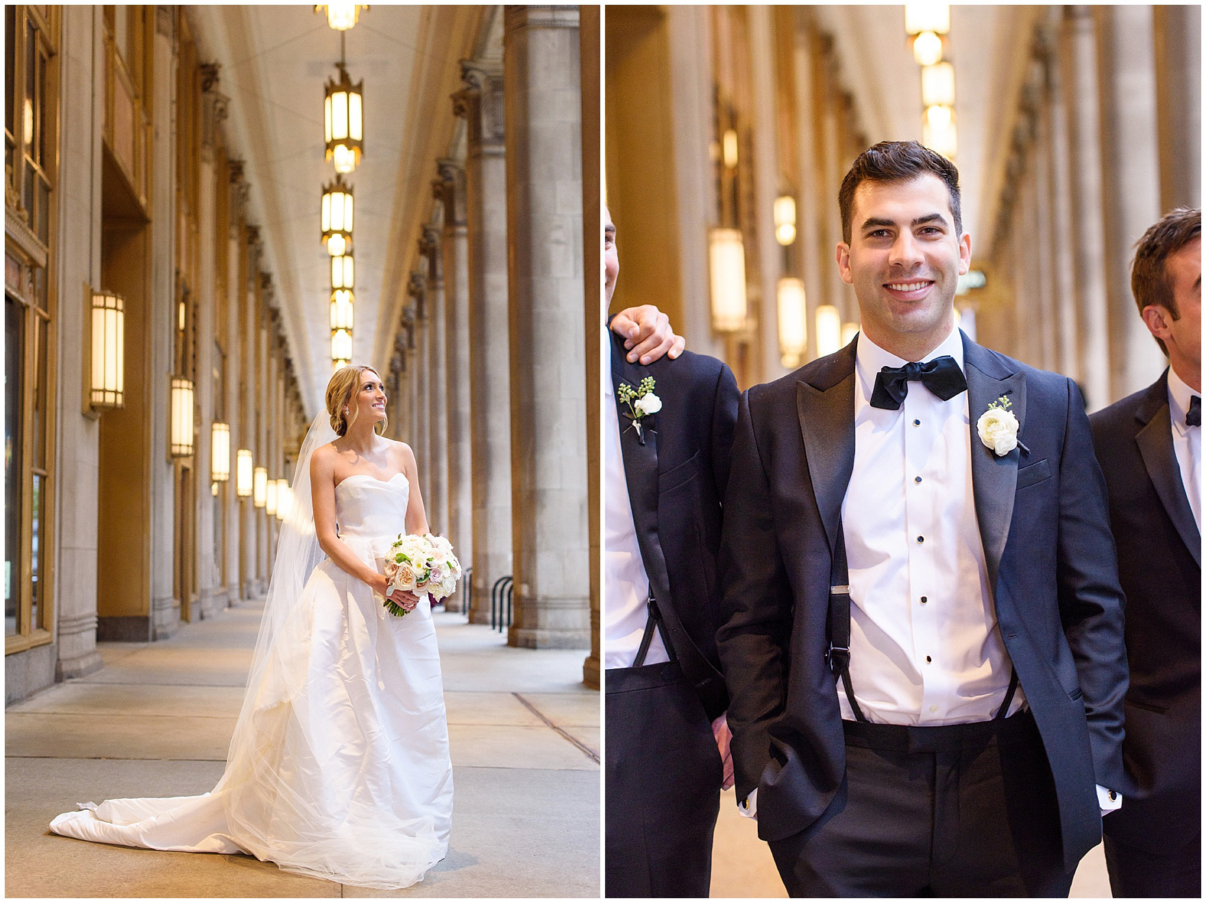 The bride and groom pose for photos at the opera house during a St. Clement Germania Place Chicago wedding.