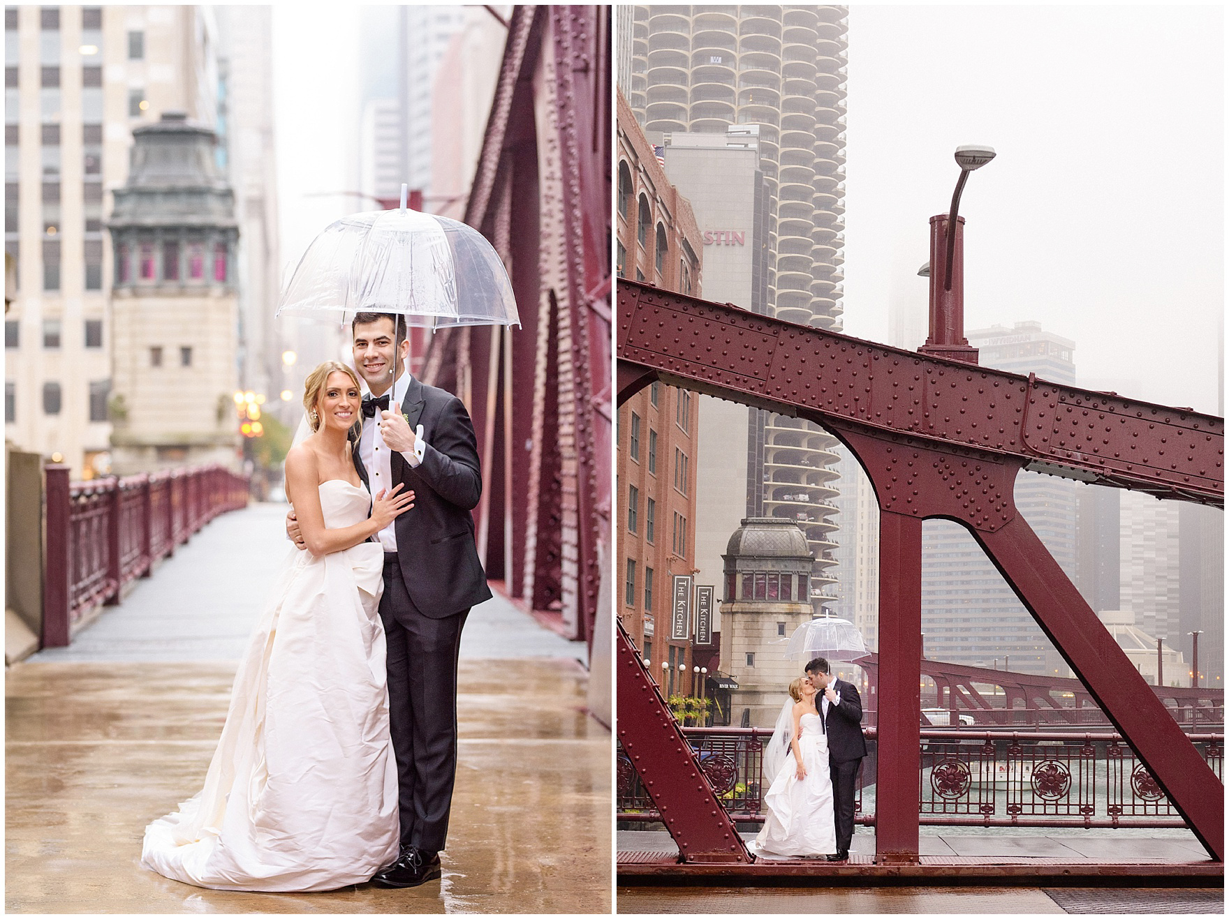 The bride and groom pose under an umbrella on the Clark Street bridge during a St. Clement Germania Place Chicago wedding.