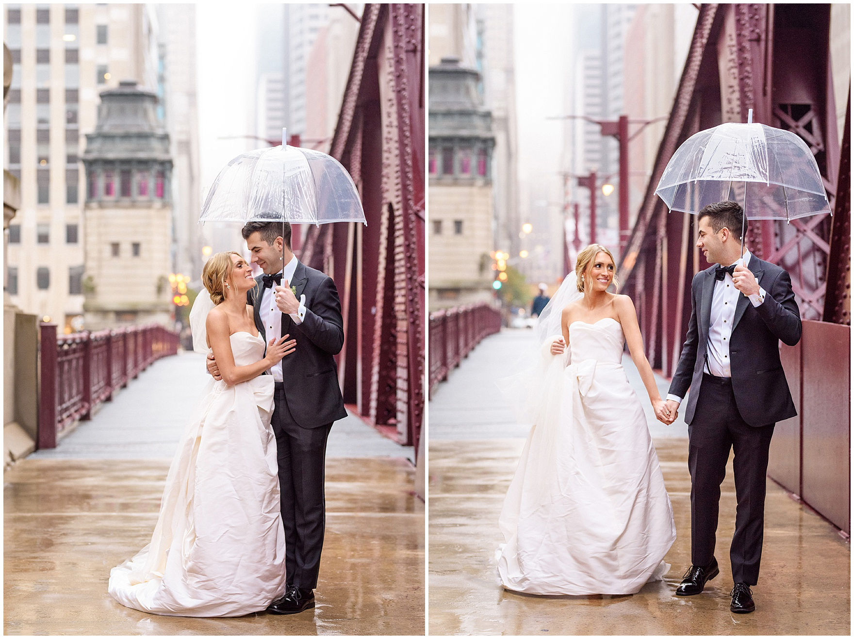 Despite the rain, the bride and groom smile and laugh as they walk on the Clark Street bridge during a St. Clement Germania Place Chicago wedding.