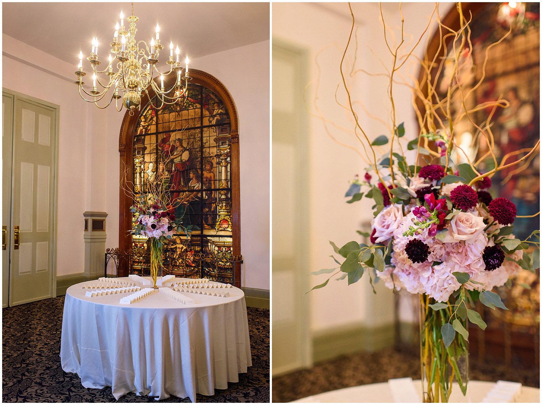 The foyer of Germania Place is set up for the wedding reception during a St. Clement Germania Place Chicago wedding.