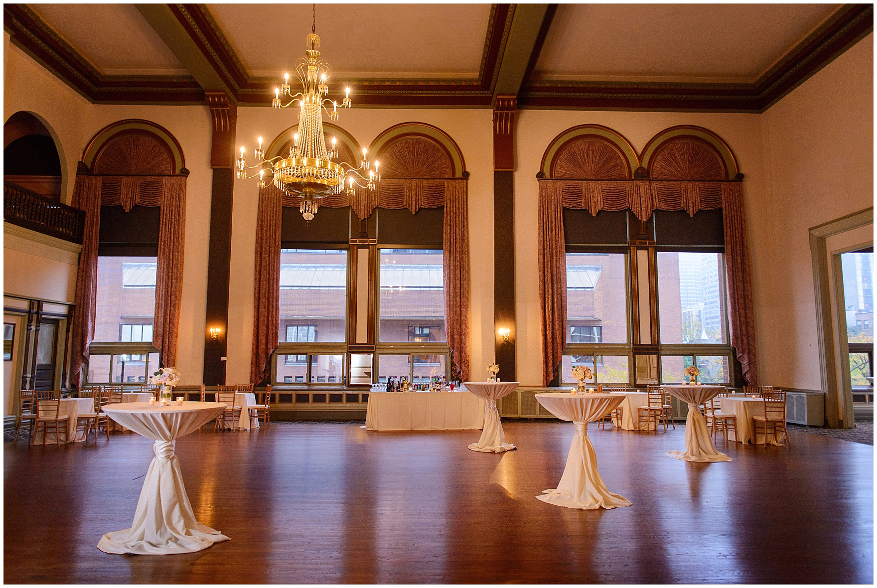 A ballroom is set for the cocktail reception during a St. Clement Germania Place Chicago wedding.