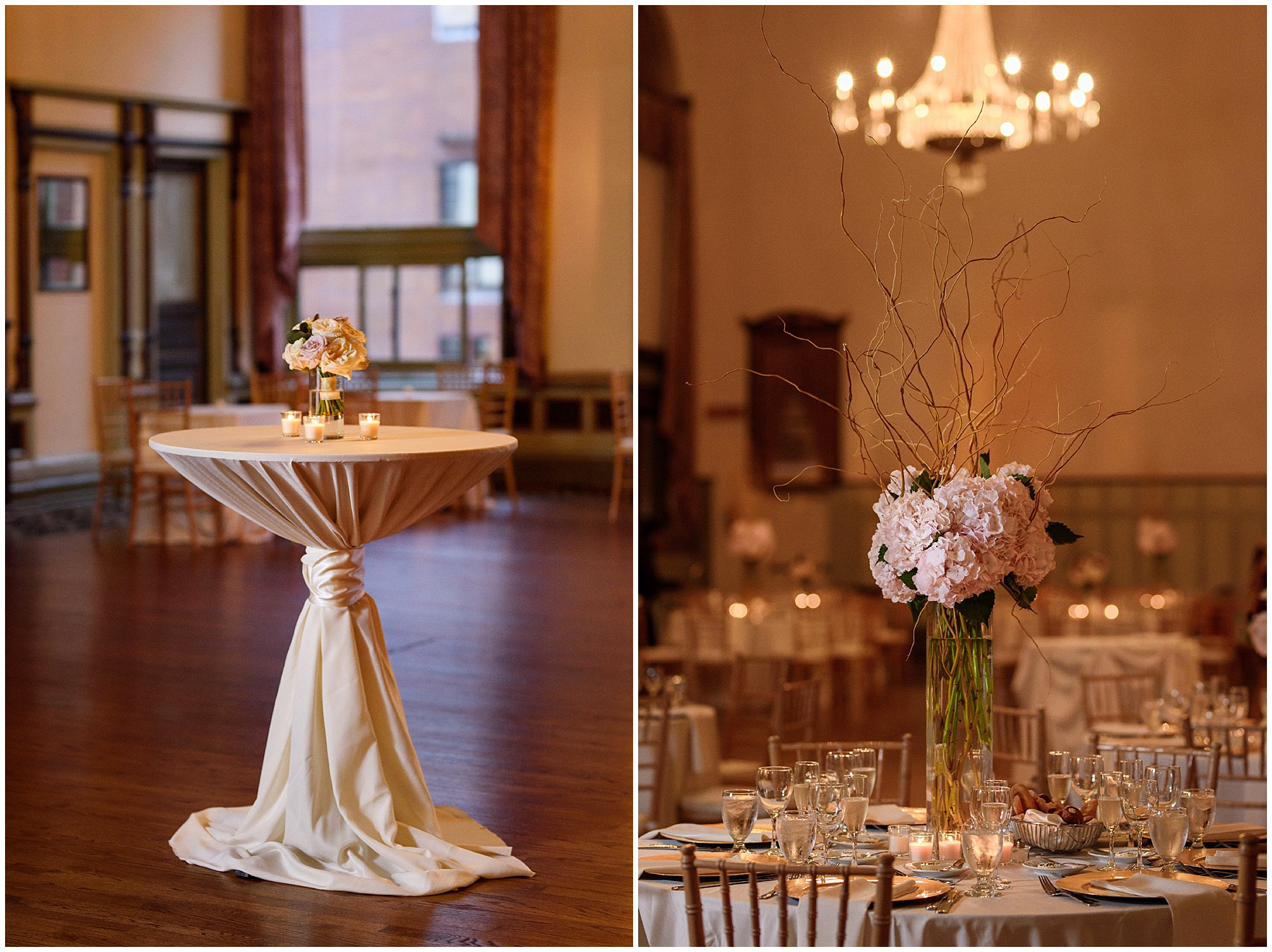 Elegant florals during a St. Clement Germania Place Chicago wedding.