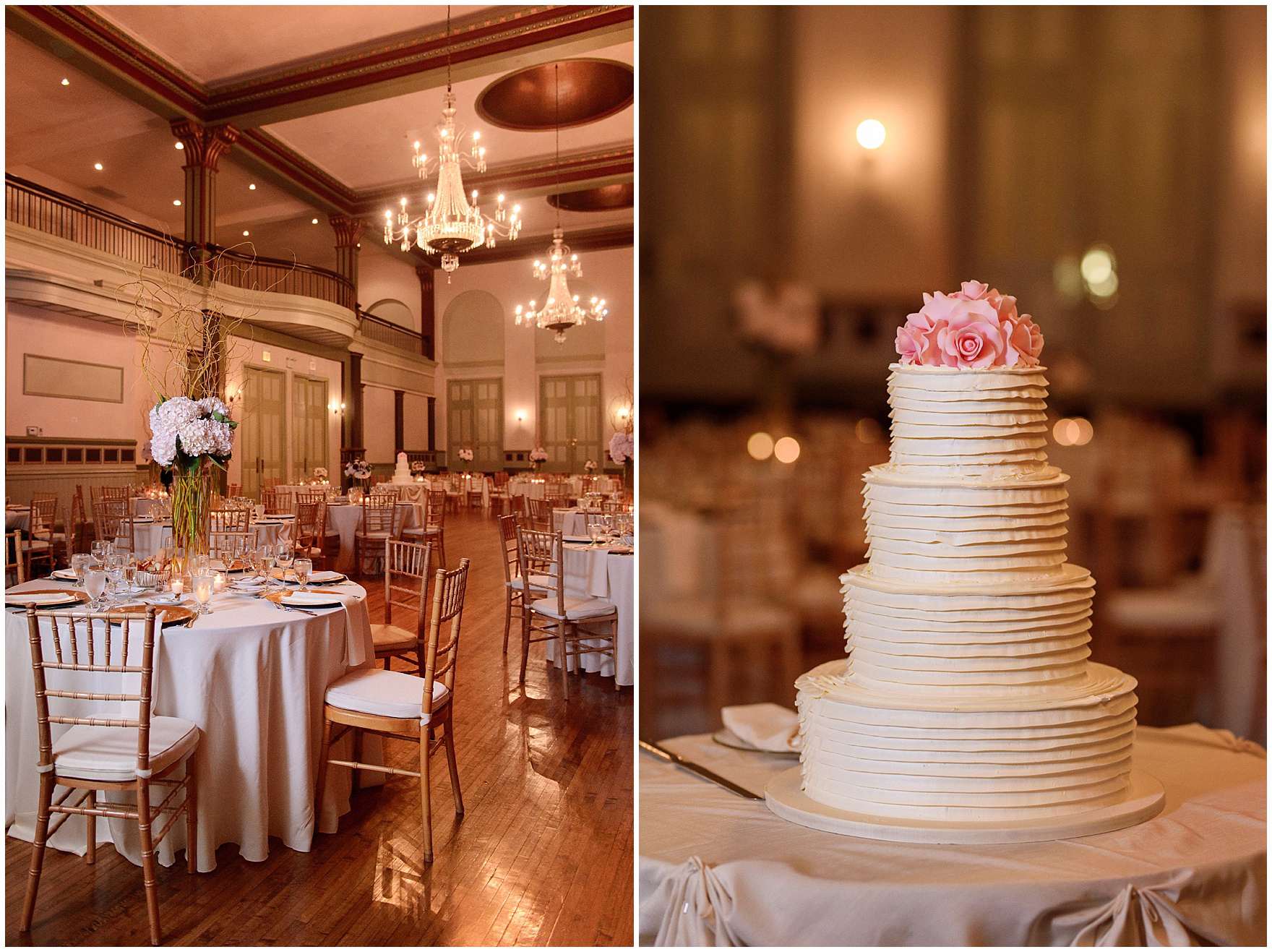 The ballroom is set for dinner during a St. Clement Germania Place Chicago wedding.