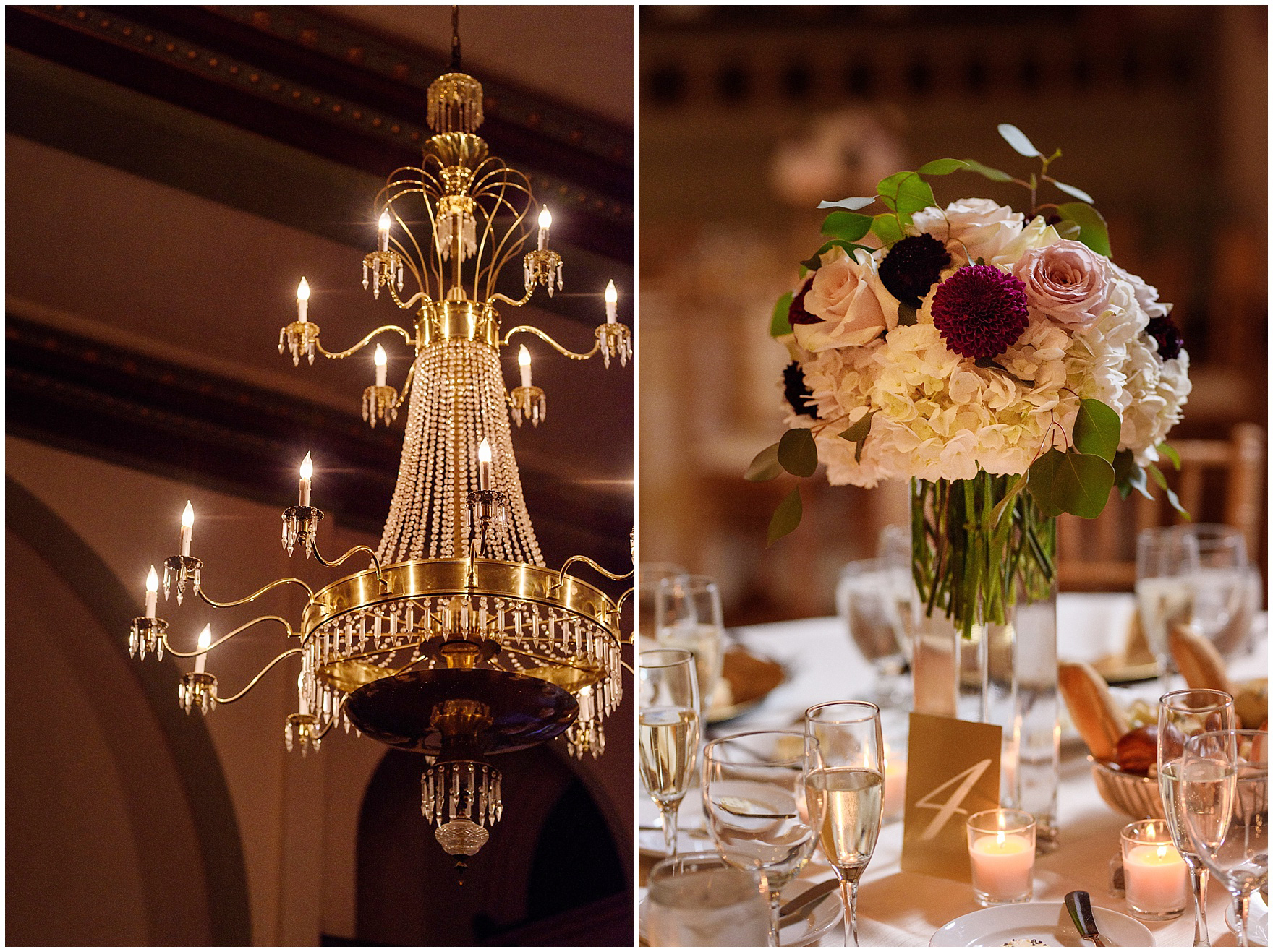 Crystal chandeliers and rose and hydrangea floral centerpieces during a St. Clement Germania Place Chicago wedding.