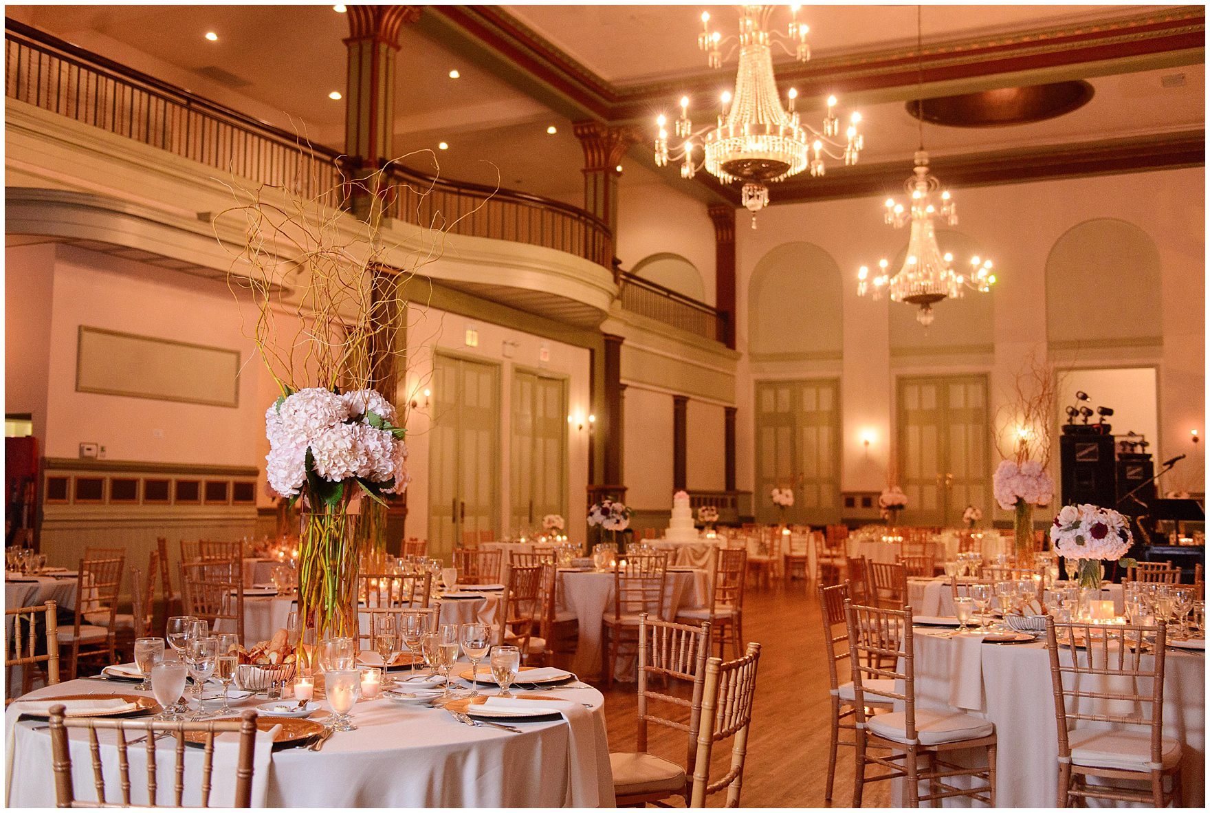 The elegant ballroom in blush and ivory during a St. Clement Germania Place Chicago wedding.