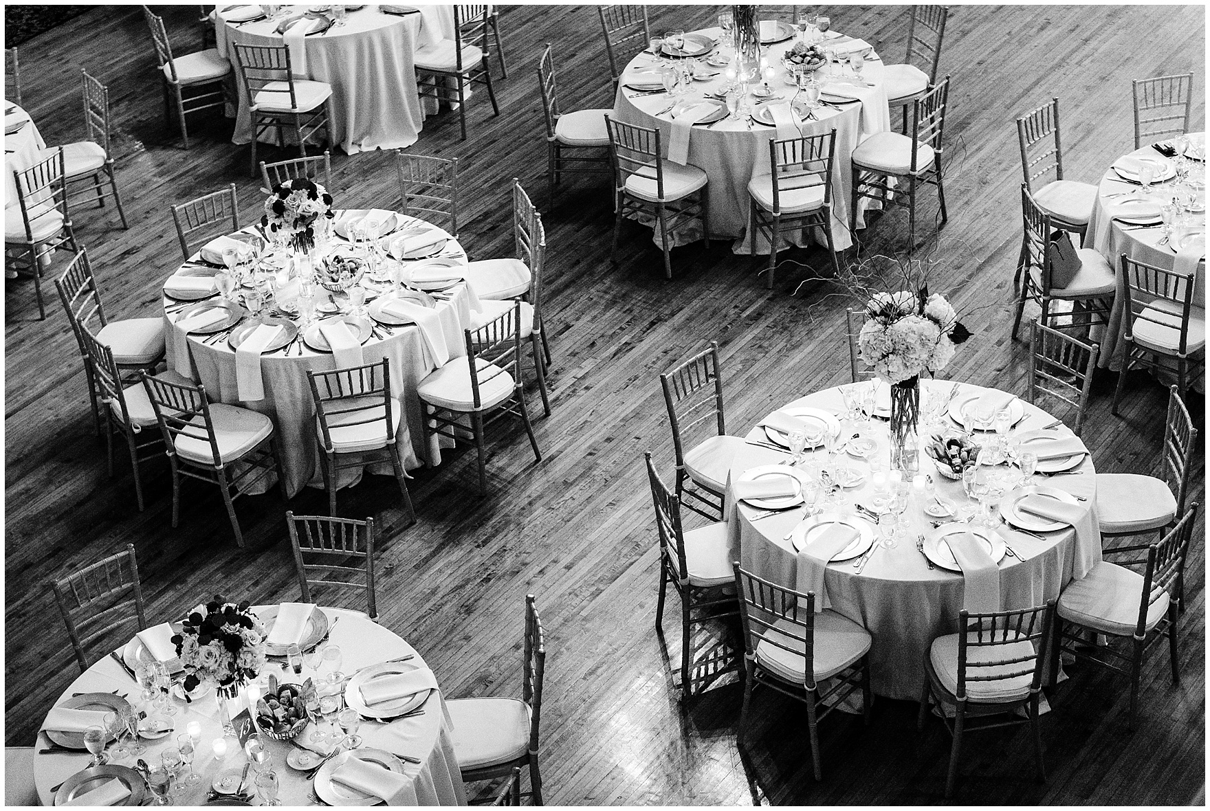 Tables are set for the reception dinner during a St. Clement Germania Place Chicago wedding.