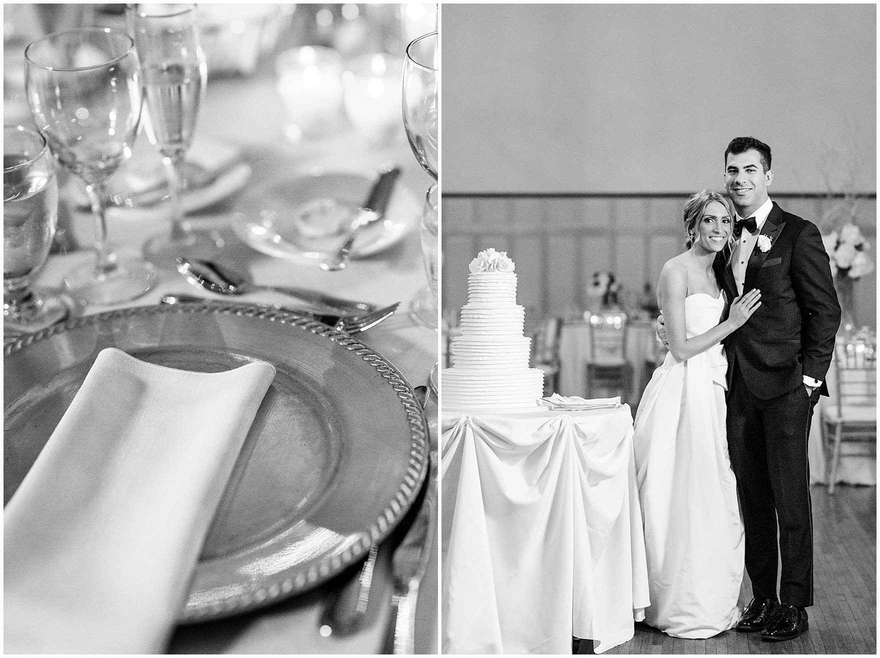 The bride and groom pose near their cake during a St. Clement Germania Place Chicago wedding.