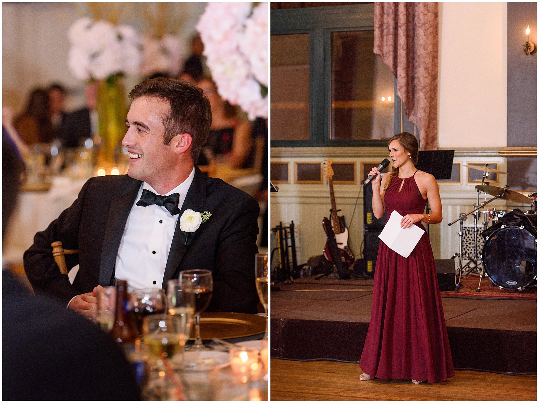 The maid of honor speaks during a St. Clement Germania Place Chicago wedding.
