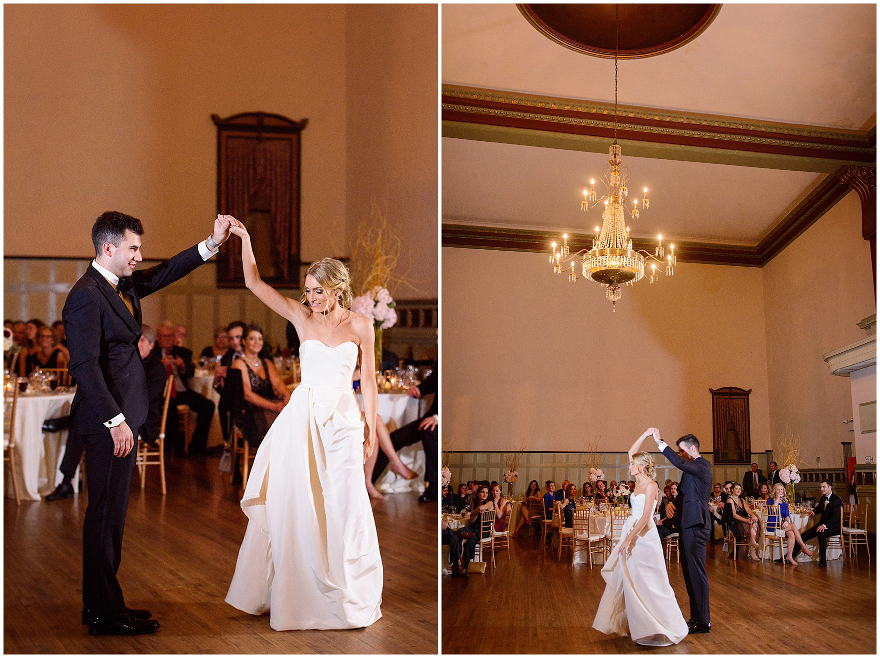 The groom twirls the bride during a St. Clement Germania Place Chicago wedding.