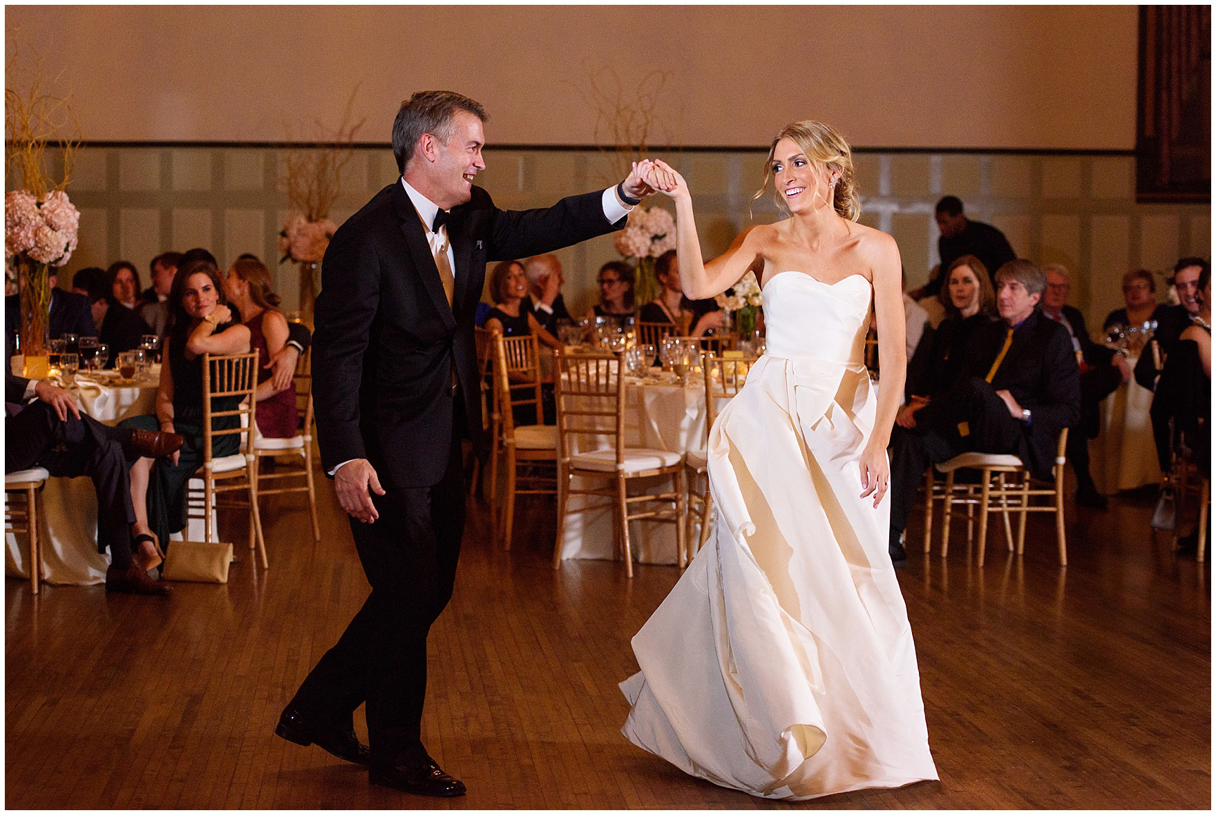 The bride and her dad dance during a St. Clement Germania Place Chicago wedding.