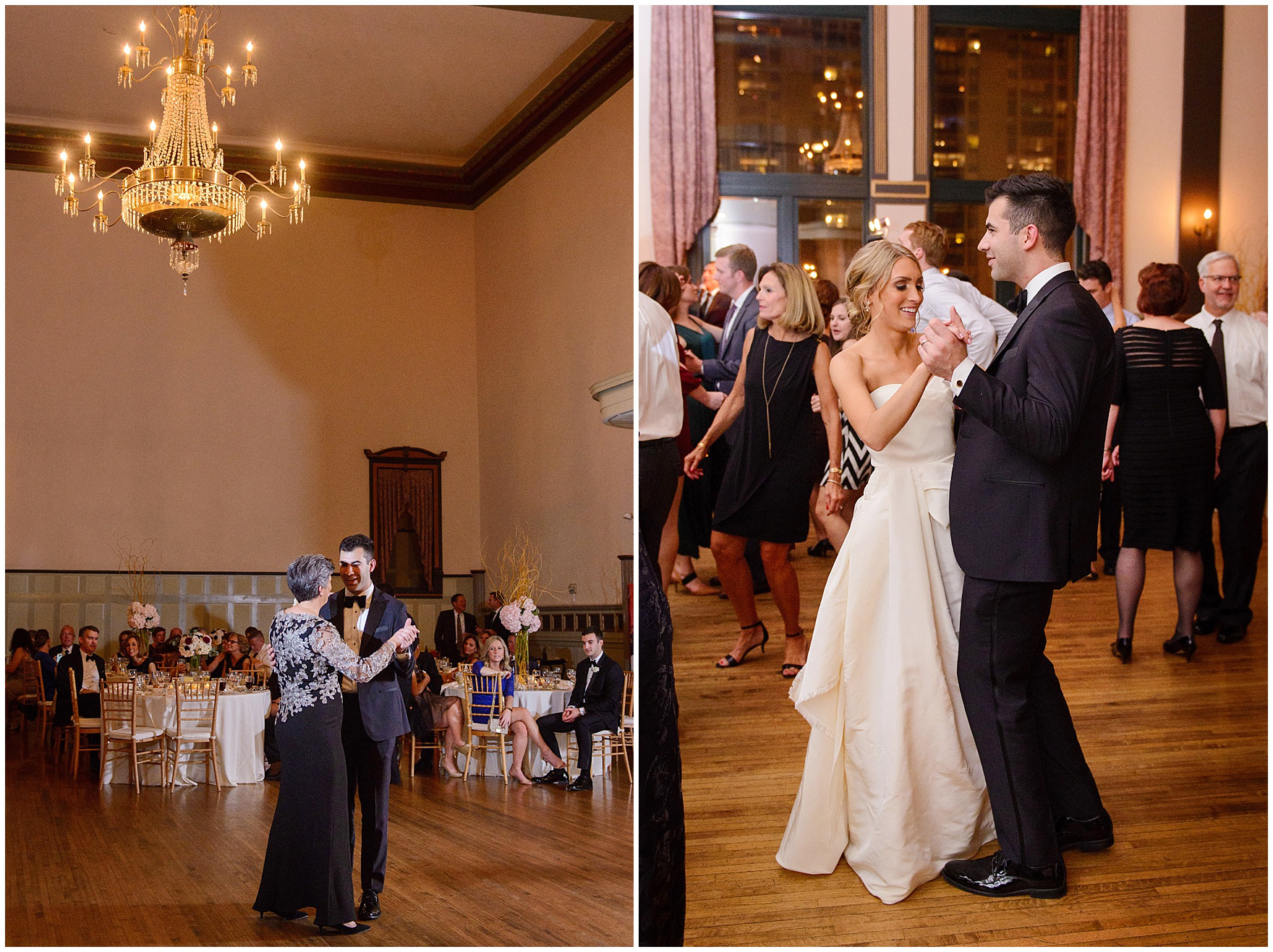 The groom and her mother during a St. Clement Germania Place Chicago wedding.