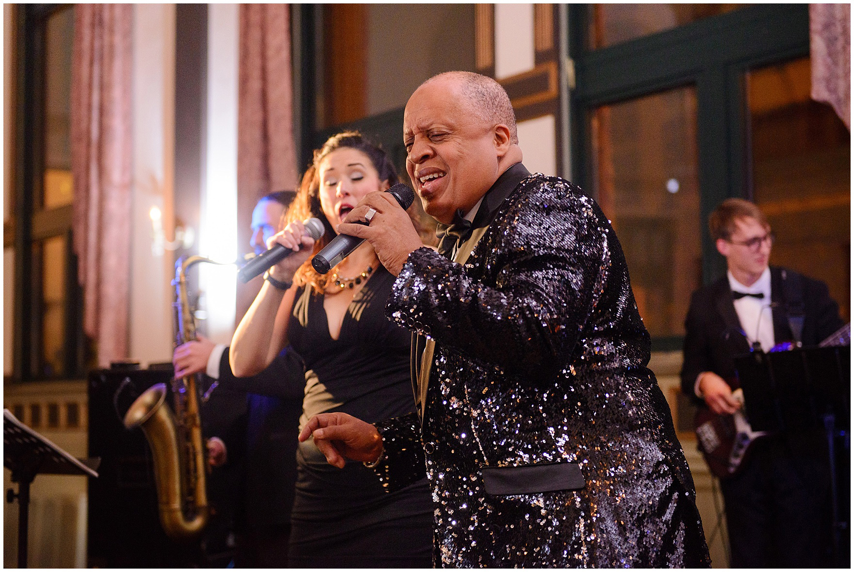 The band Connexion performs during a St. Clement Germania Place Chicago wedding.