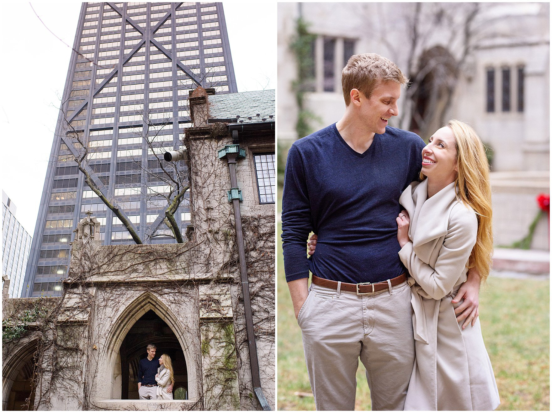 A couple laughs and embraces at the Fourth Presbyterian Church during a downtown Chicago classic engagement photography session.