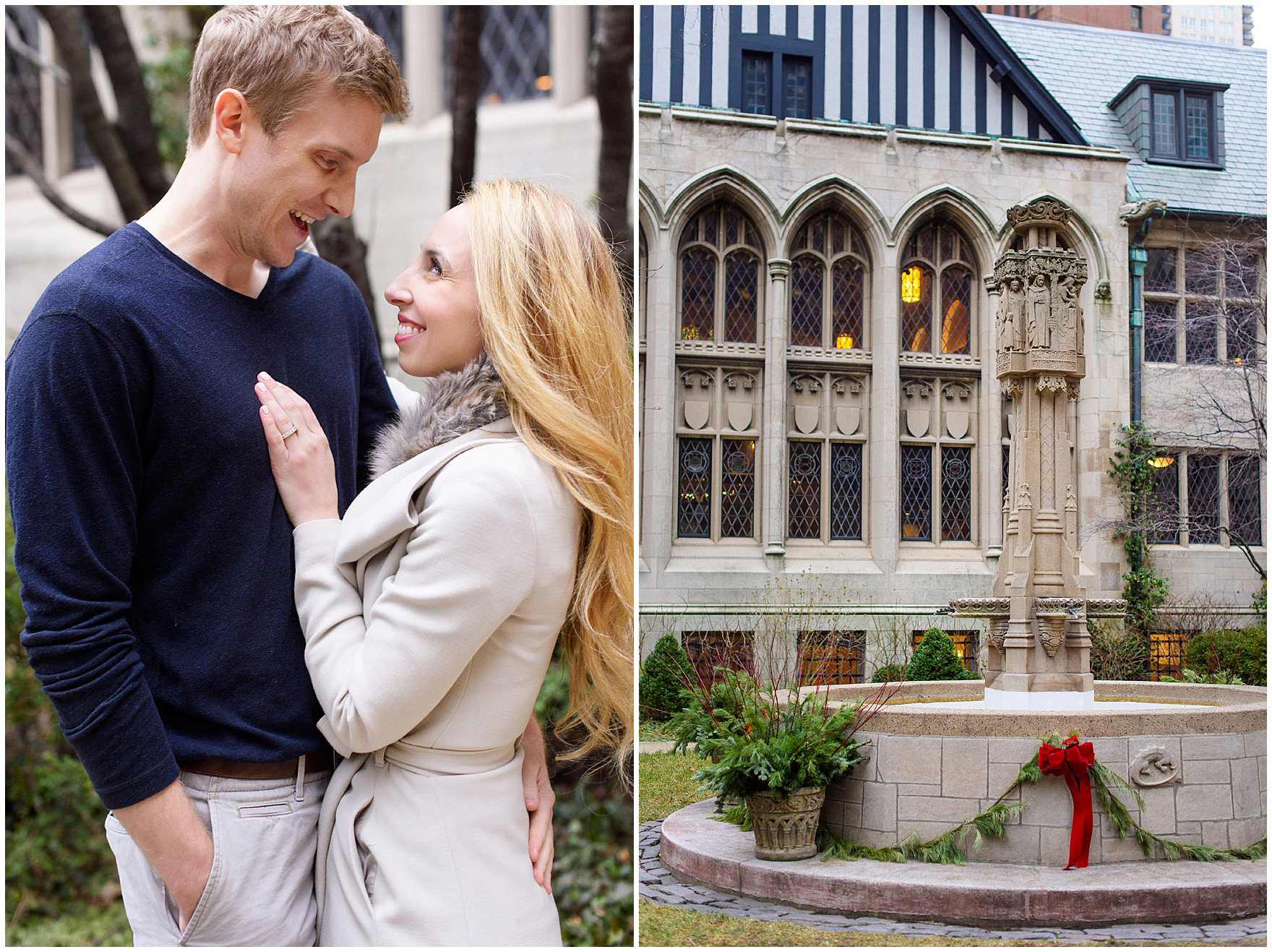 A couple poses at the Fourth Presbyterian Church during a downtown Chicago classic engagement photography session.