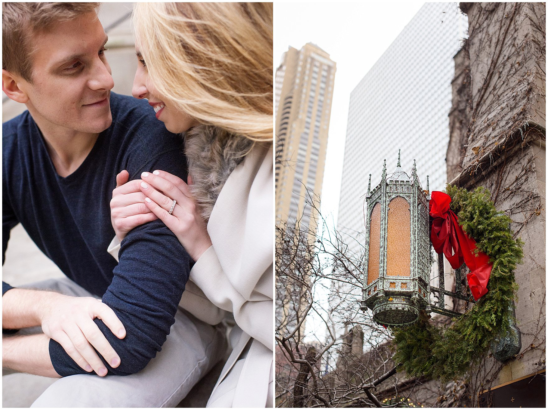 A couple takes portraits at the Fourth Presbyterian Church during a downtown Chicago classic engagement photography session.