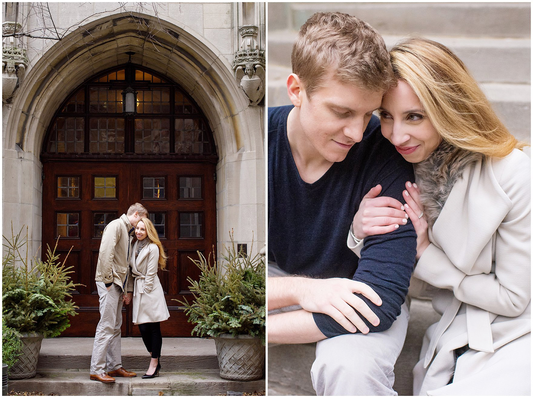 A couple takes photos at the Fourth Presbyterian Church during a downtown Chicago classic engagement photography session.