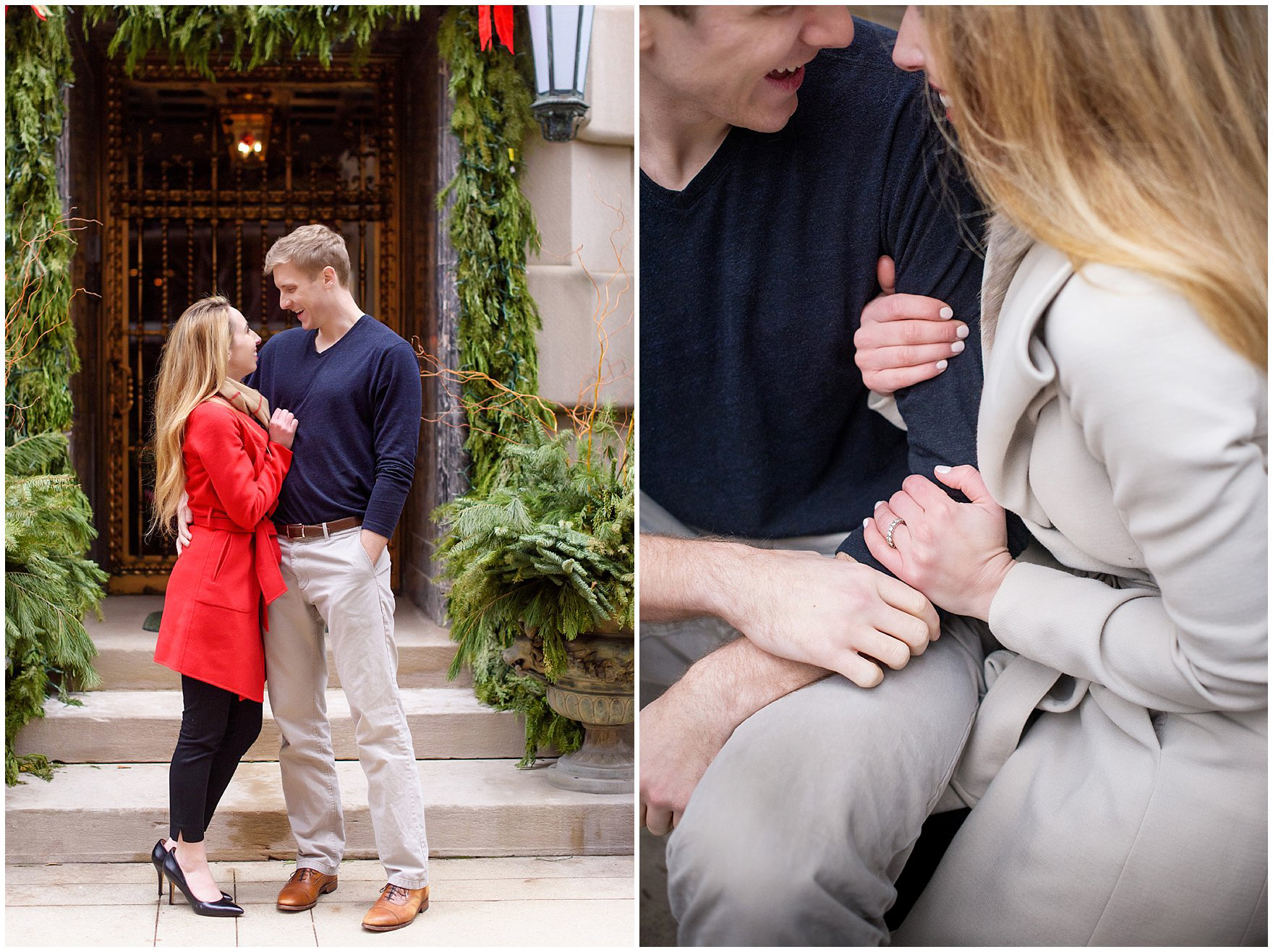 A couple walks along the streets of the Gold Coast, decorated for the holidays, during a downtown Chicago classic engagement photography session.