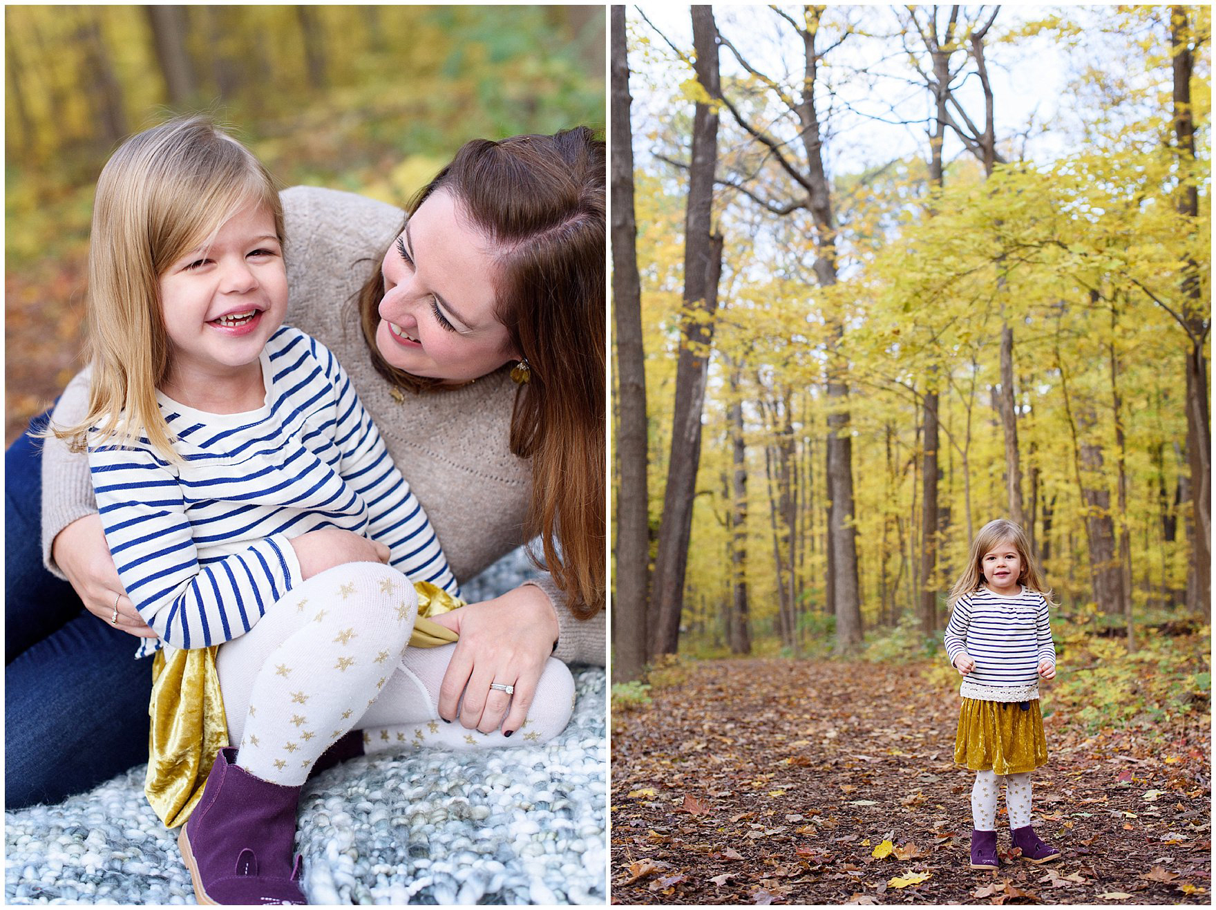 A young girl poses for photos against a backdrop of golden leaves during a Morton Arboretum fall family session.