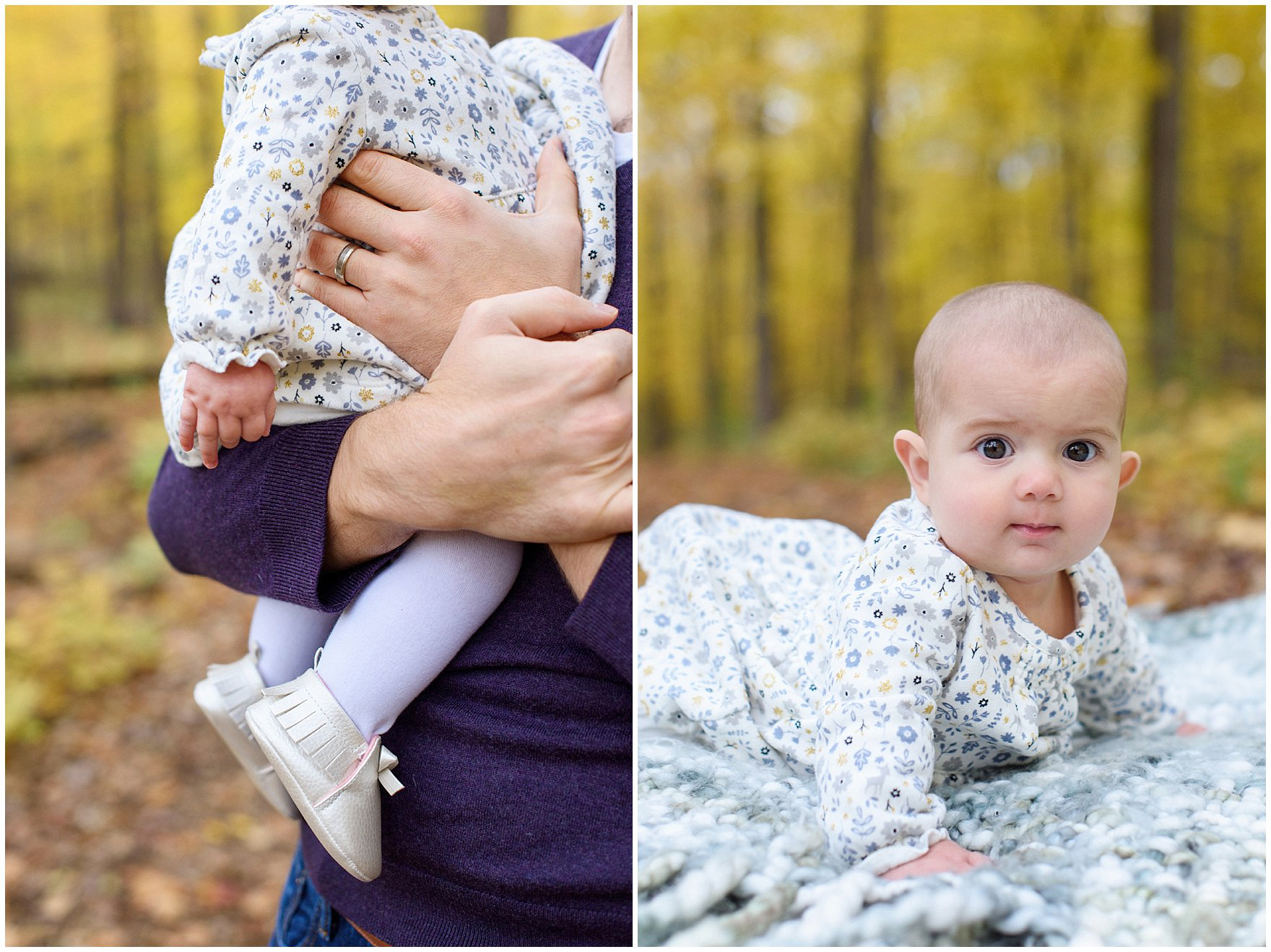 A baby girl poses against a backdrop of golden leaves during a Morton Arboretum fall family session.