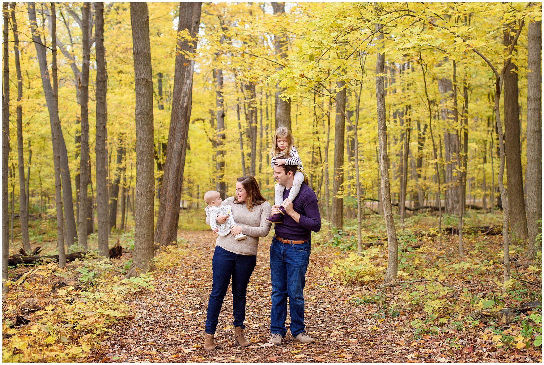 A family walks through a forest of golden leaves during a Morton Arboretum fall family session.