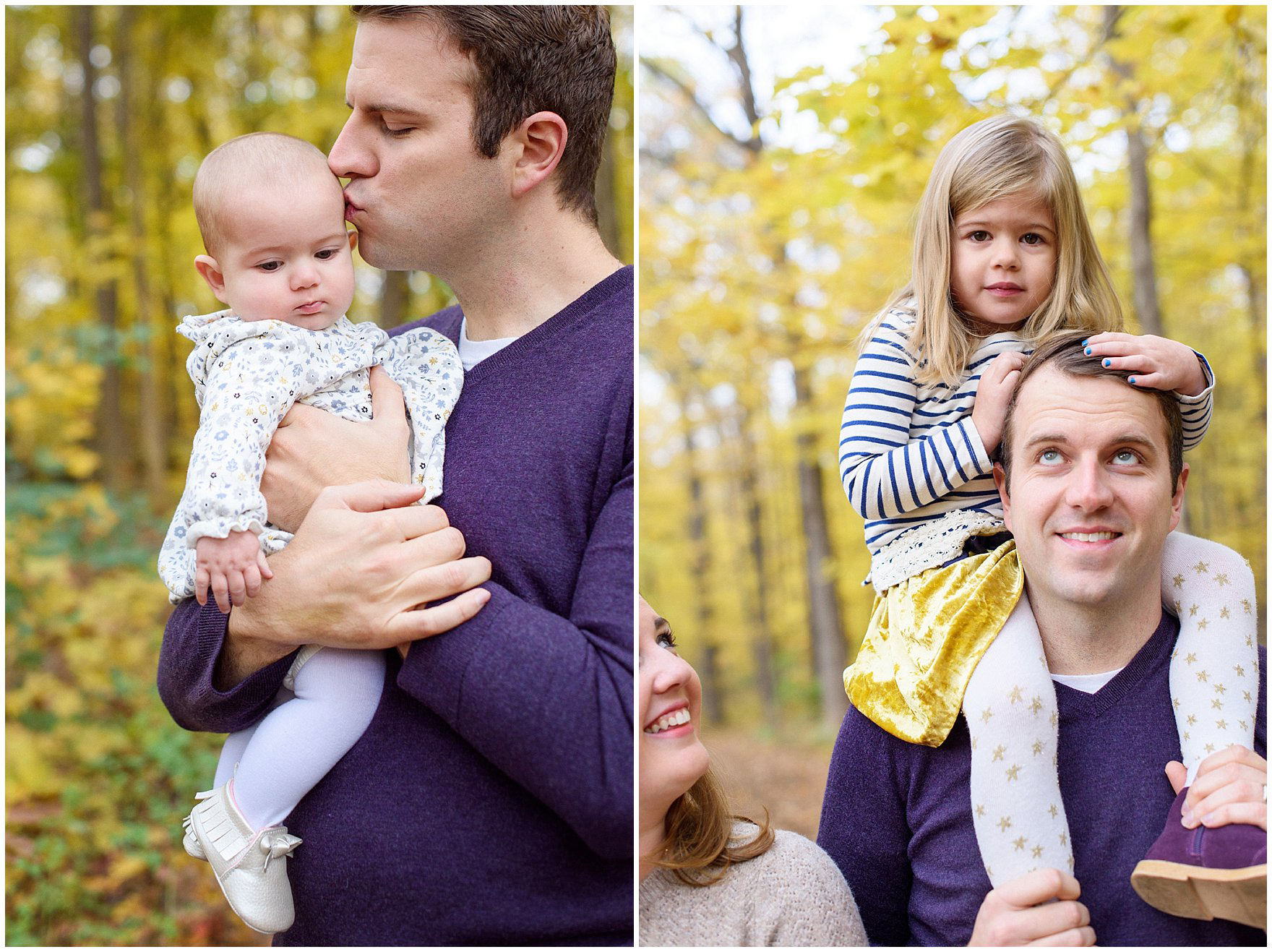 A family walks and plays among the golden leaves during a Morton Arboretum fall family session.