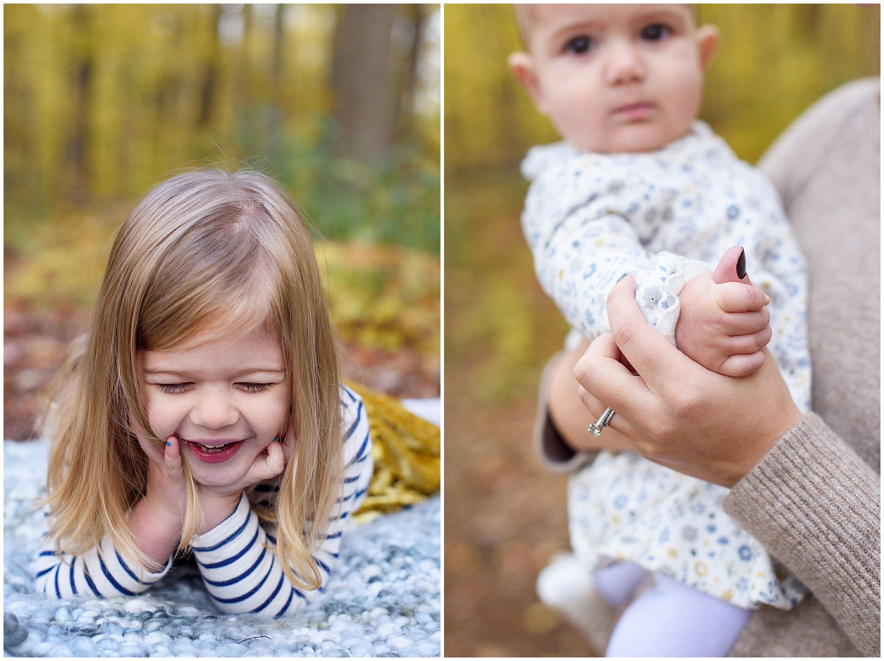 Big sister laughs and baby sister gets snuggles from mom during a Morton Arboretum fall family session.