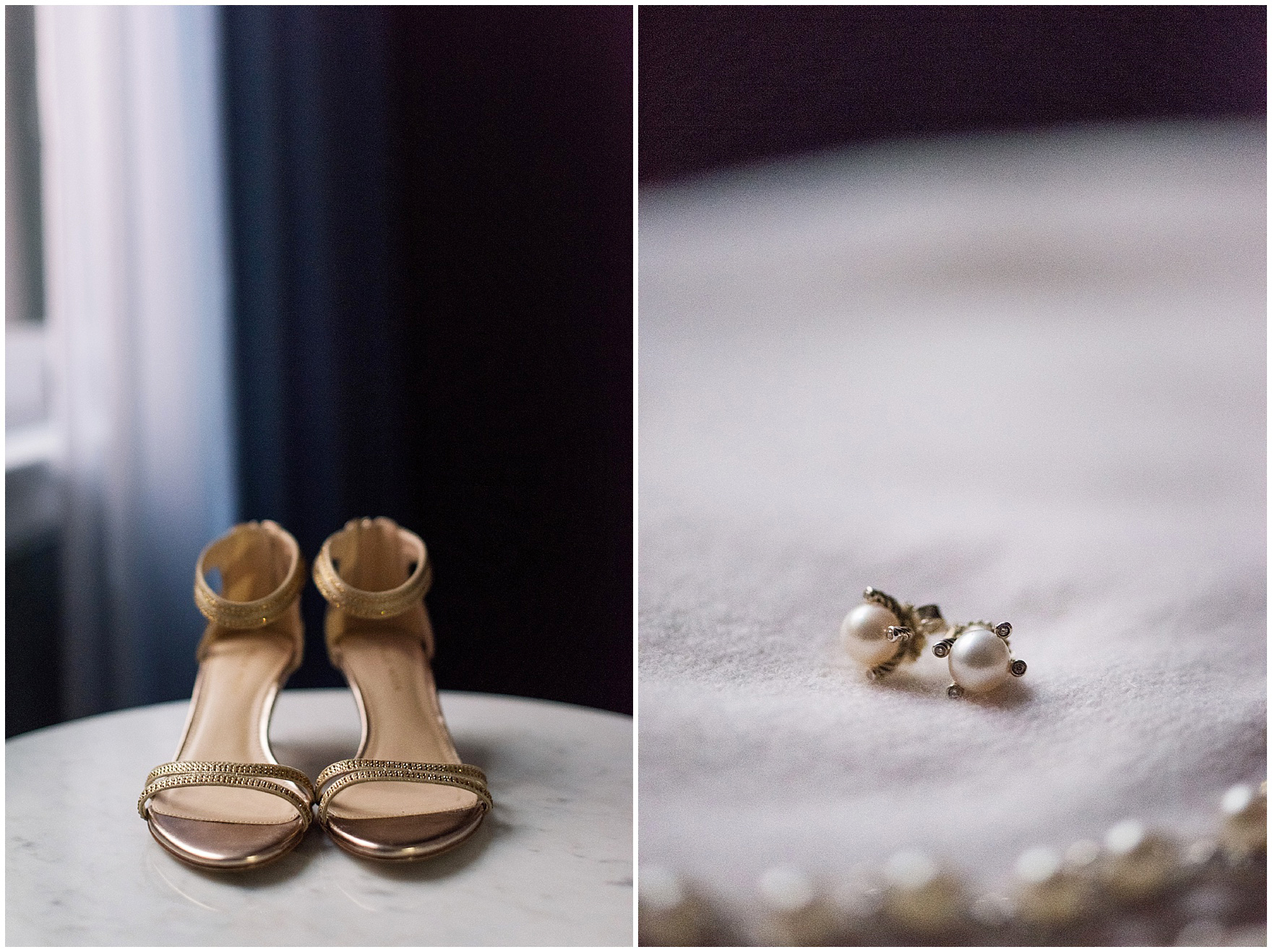 Details of the bride's shoes and earrings for a Newberry Library Chicago wedding.