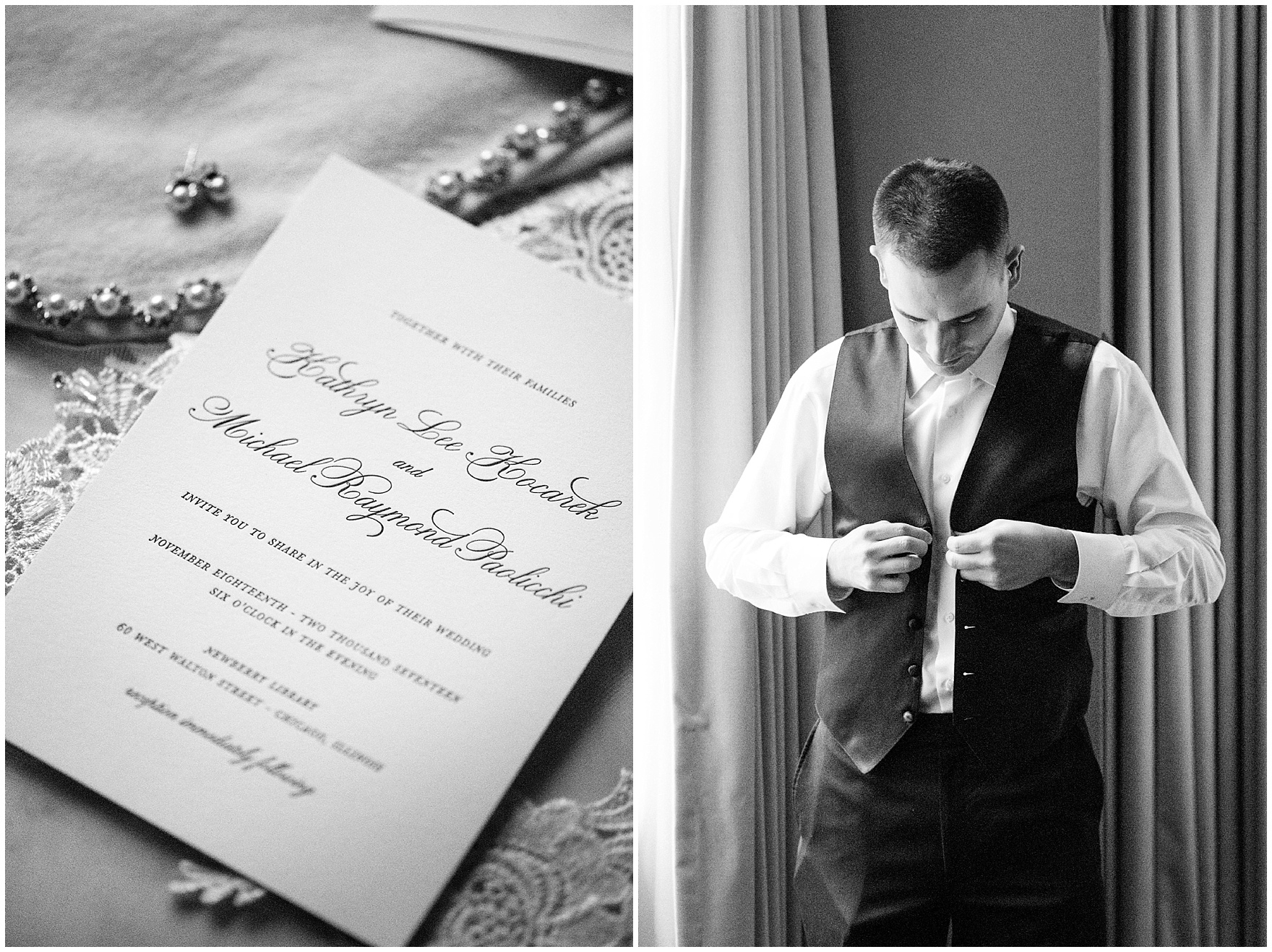 The groom gets ready for a Newberry Library Chicago wedding.