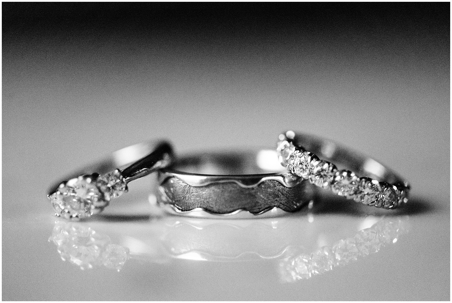 Details of the wedding bands and engagement ring for a Newberry Library Chicago wedding.