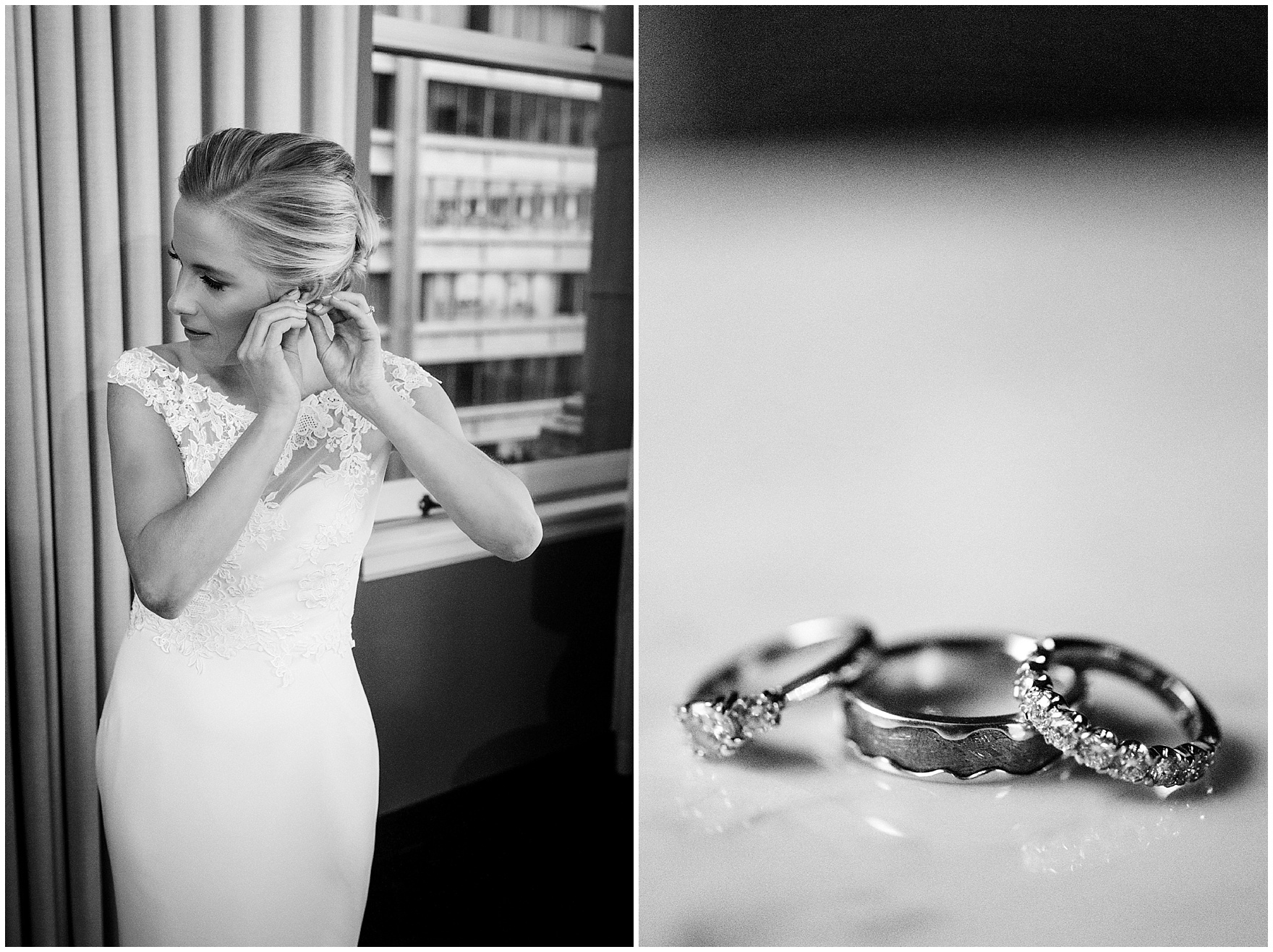 The bride gets ready at the Gray Hotel Chicago for a Newberry Library Chicago wedding.