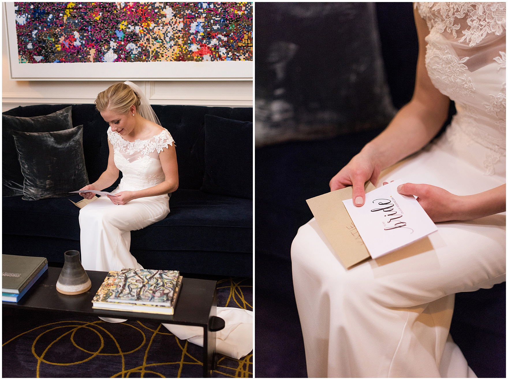 The bride reads a latter from her groom at the Gray Hotel Chicago for a Newberry Library Chicago wedding.