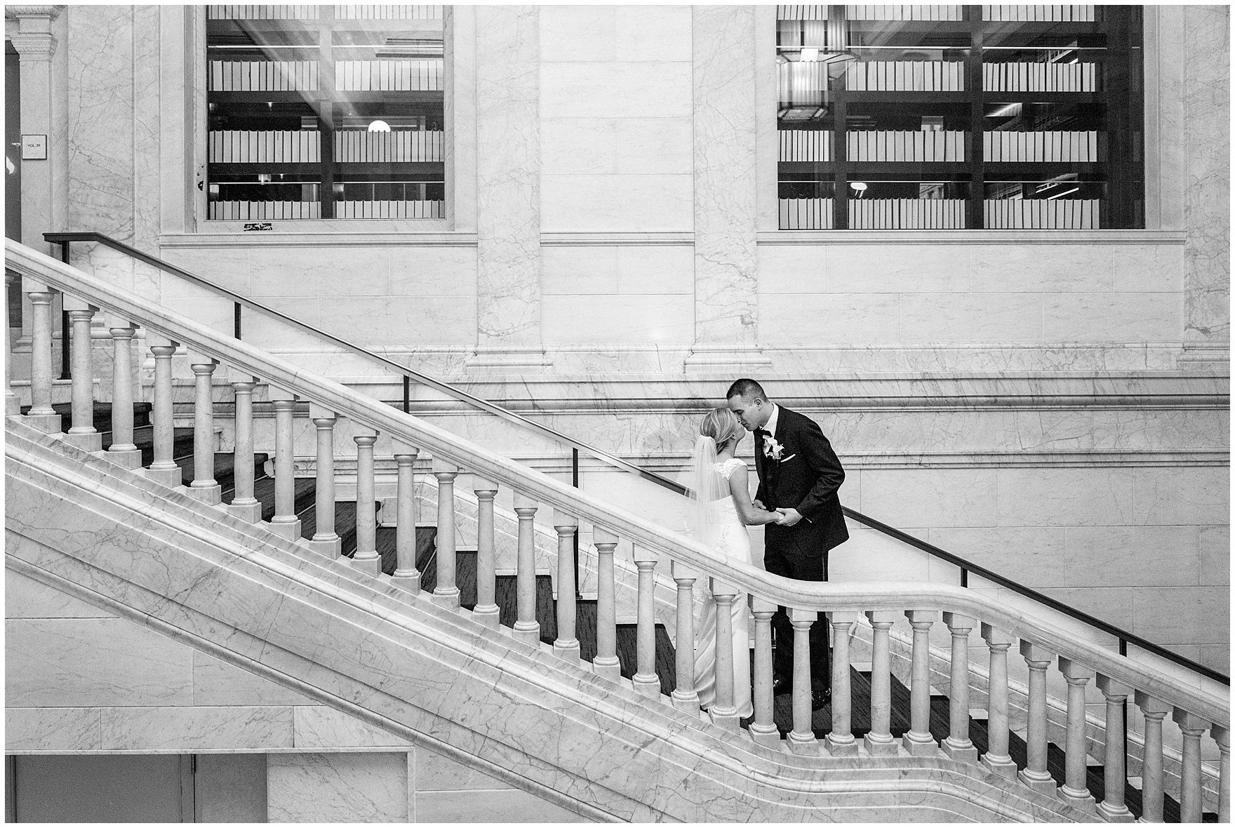The bride and groom share their first look at the Gray Hotel Chicago before a Newberry Library Chicago wedding.
