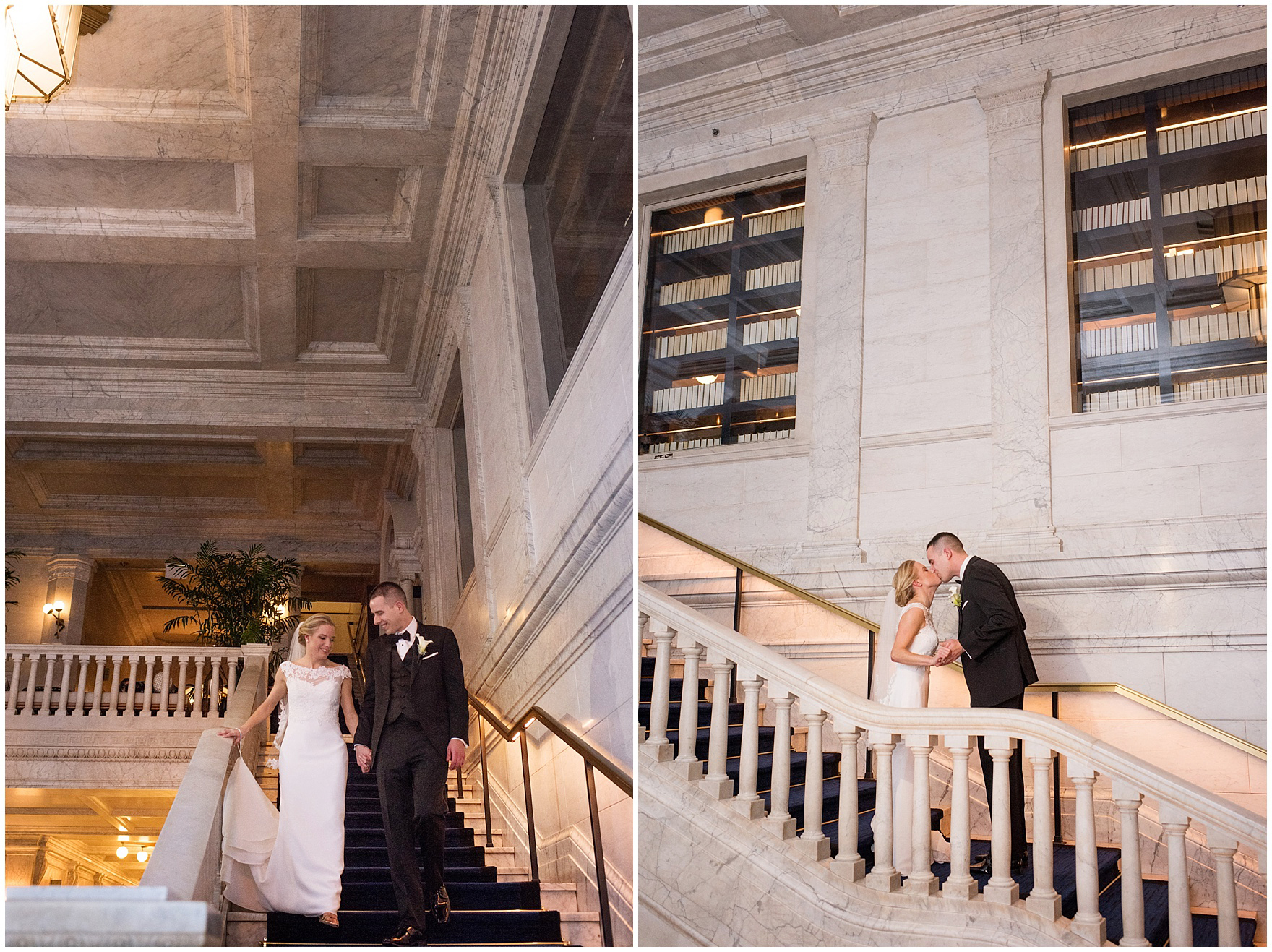 The bride and groom pose for wedding portraits at the Gray Hotel Chicago before a Newberry Library Chicago wedding.