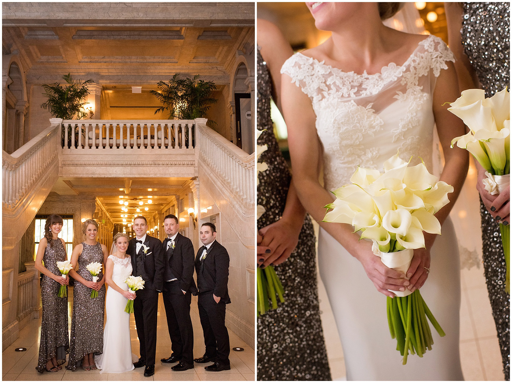 The bridal party poses for photos at the Gray Hotel Chicago before a Newberry Library Chicago wedding.