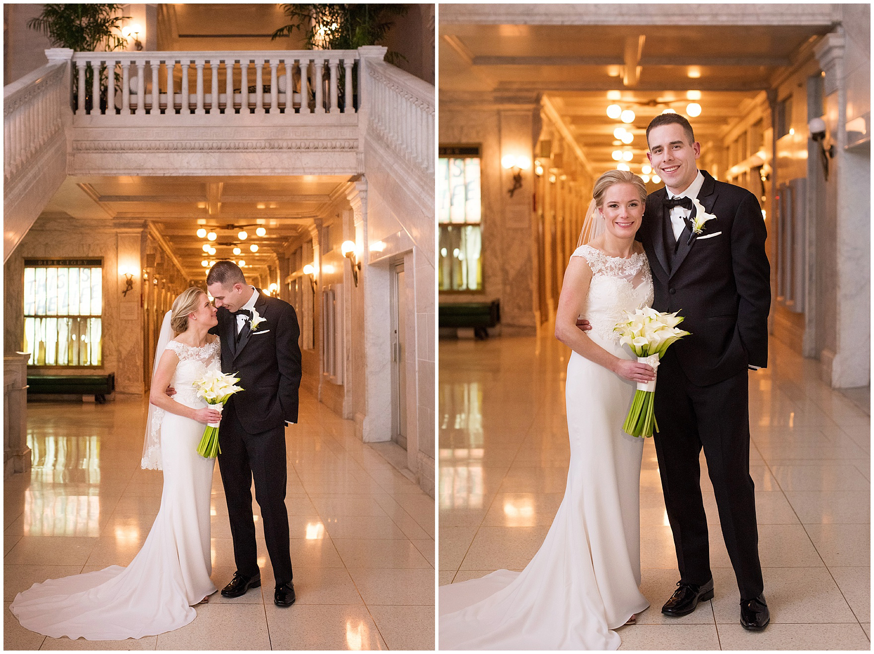 The bride and groom pose for photos at the Gray Hotel Chicago before a Newberry Library Chicago wedding.